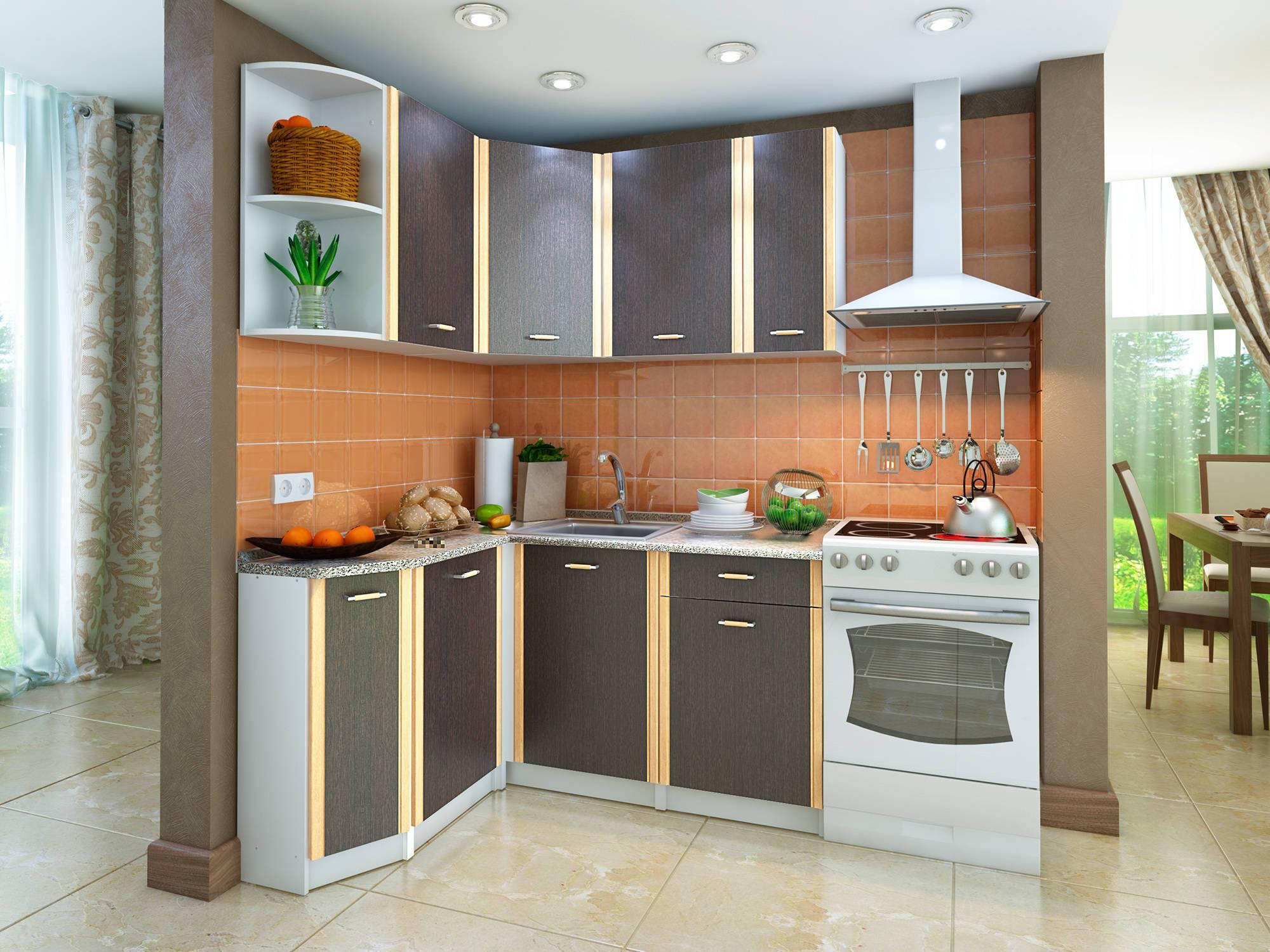 Кухонный гарнитур Бланка левый Белый, Венге, Коричневый темный