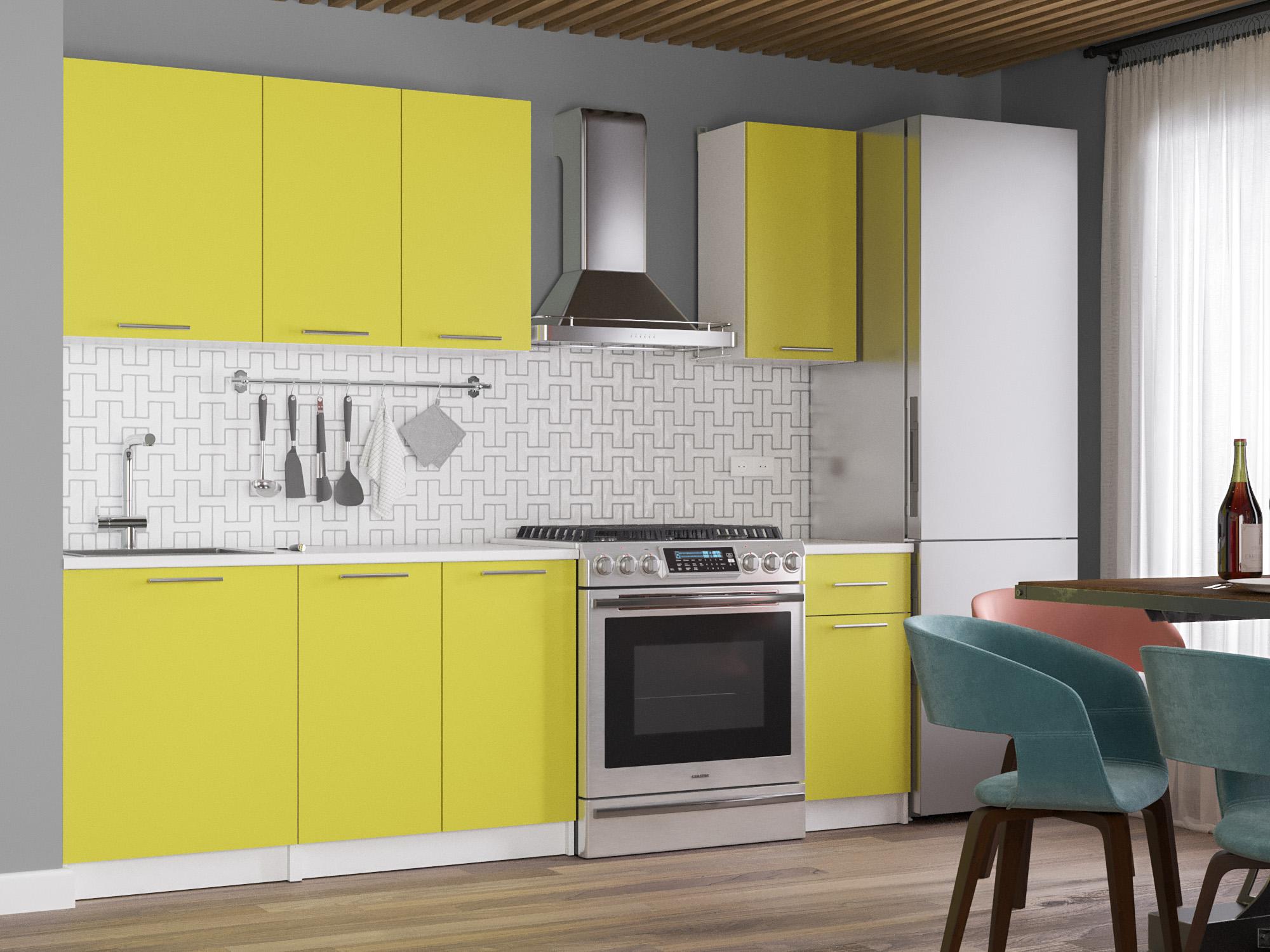 Кухня Лион 1,8 Желтый, , Белый, ЛДСП Белый, Желтый