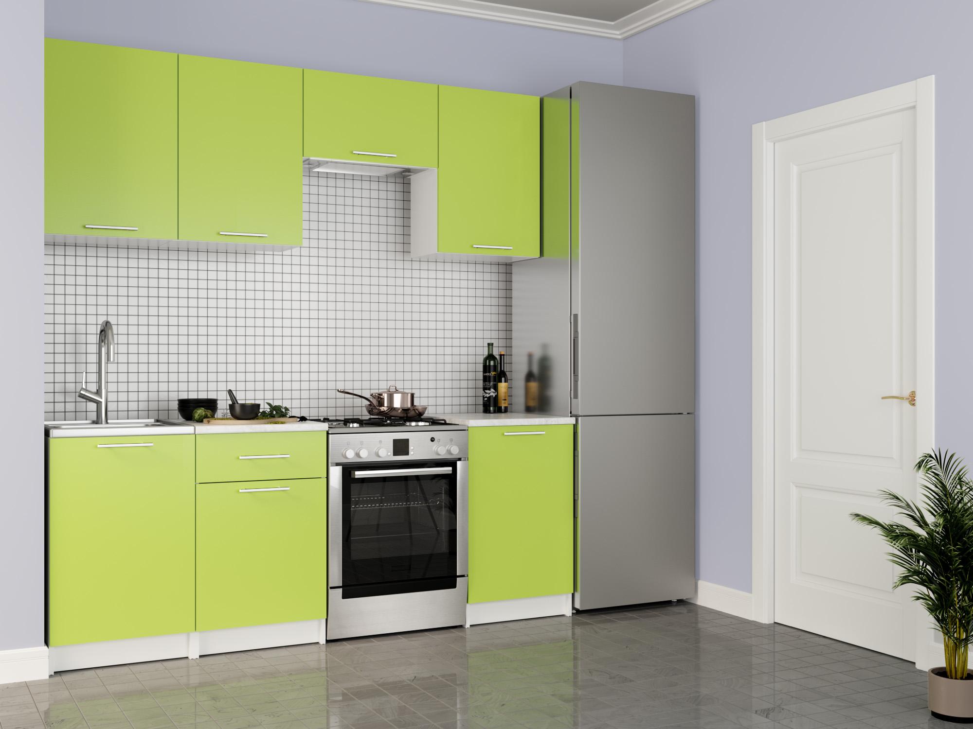 Кухня Адель 2,1 Лайм, , Зеленый, Белый, ЛДСП Белый, Зеленый, Лайм