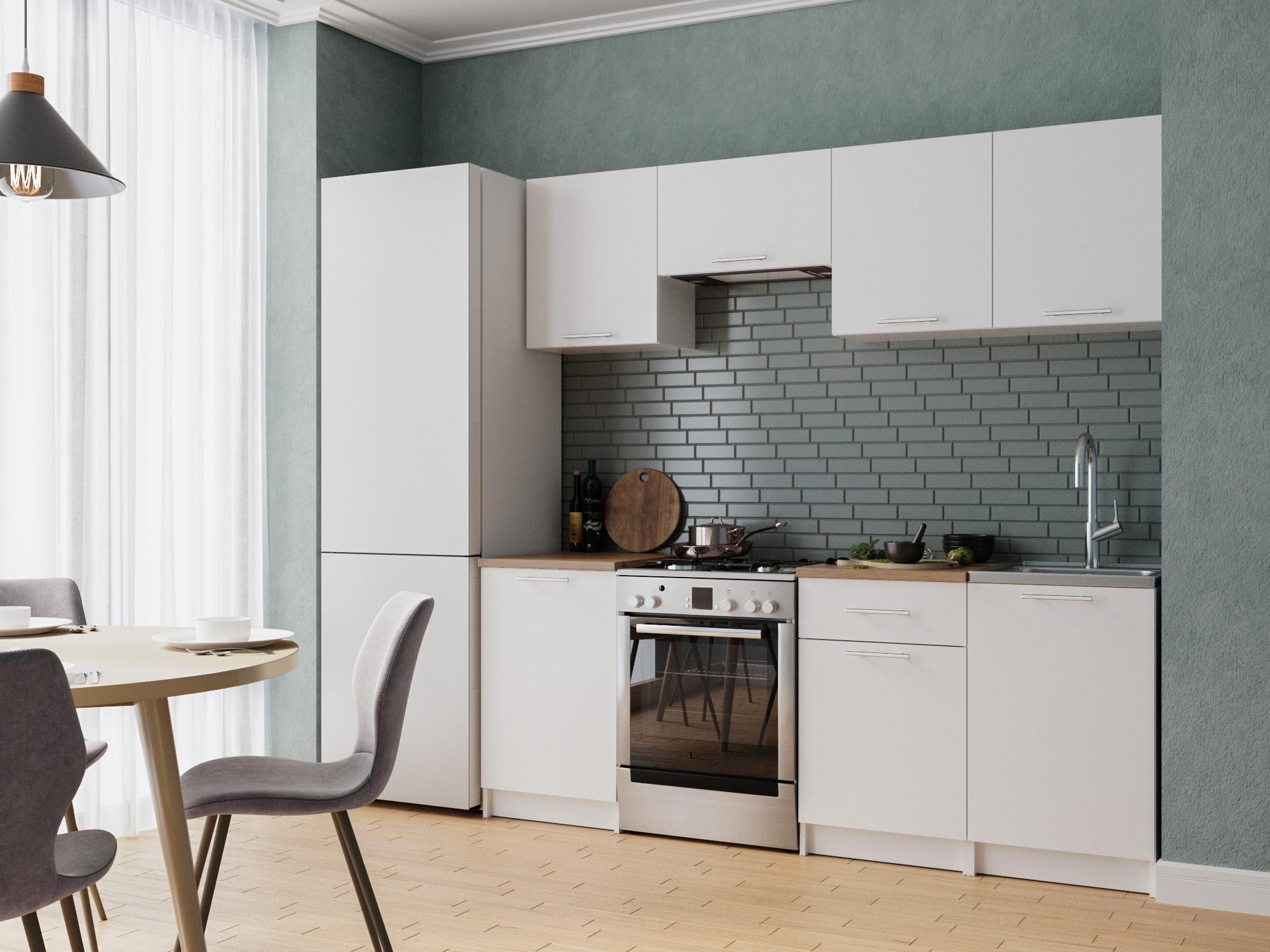 Кухня Адель 2,1 м Белый, , ЛДСП Белый