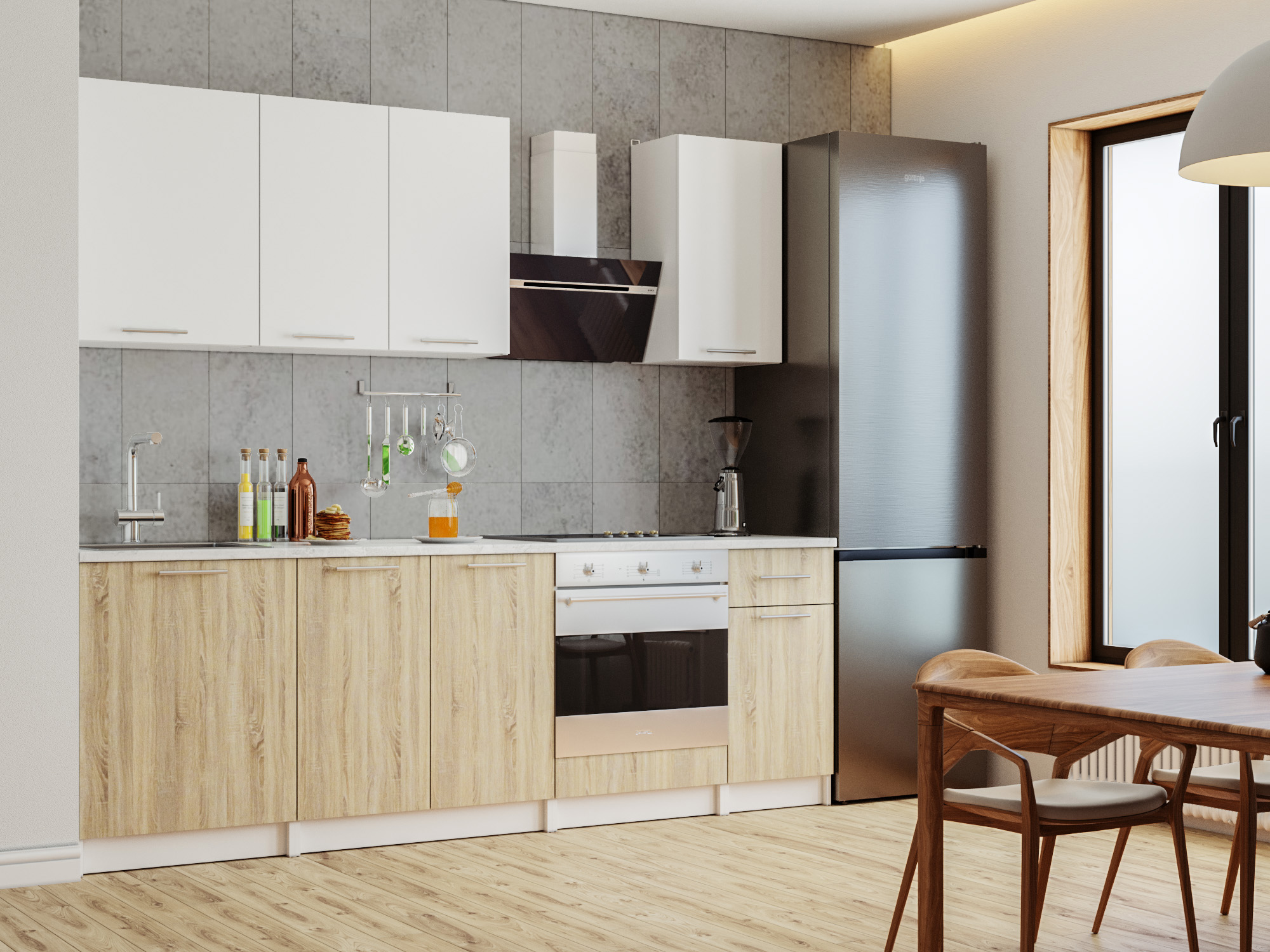 Кухня Моника 2,4 м Белый, Дуб сонома, , ЛДСП Белый, Дуб сонома