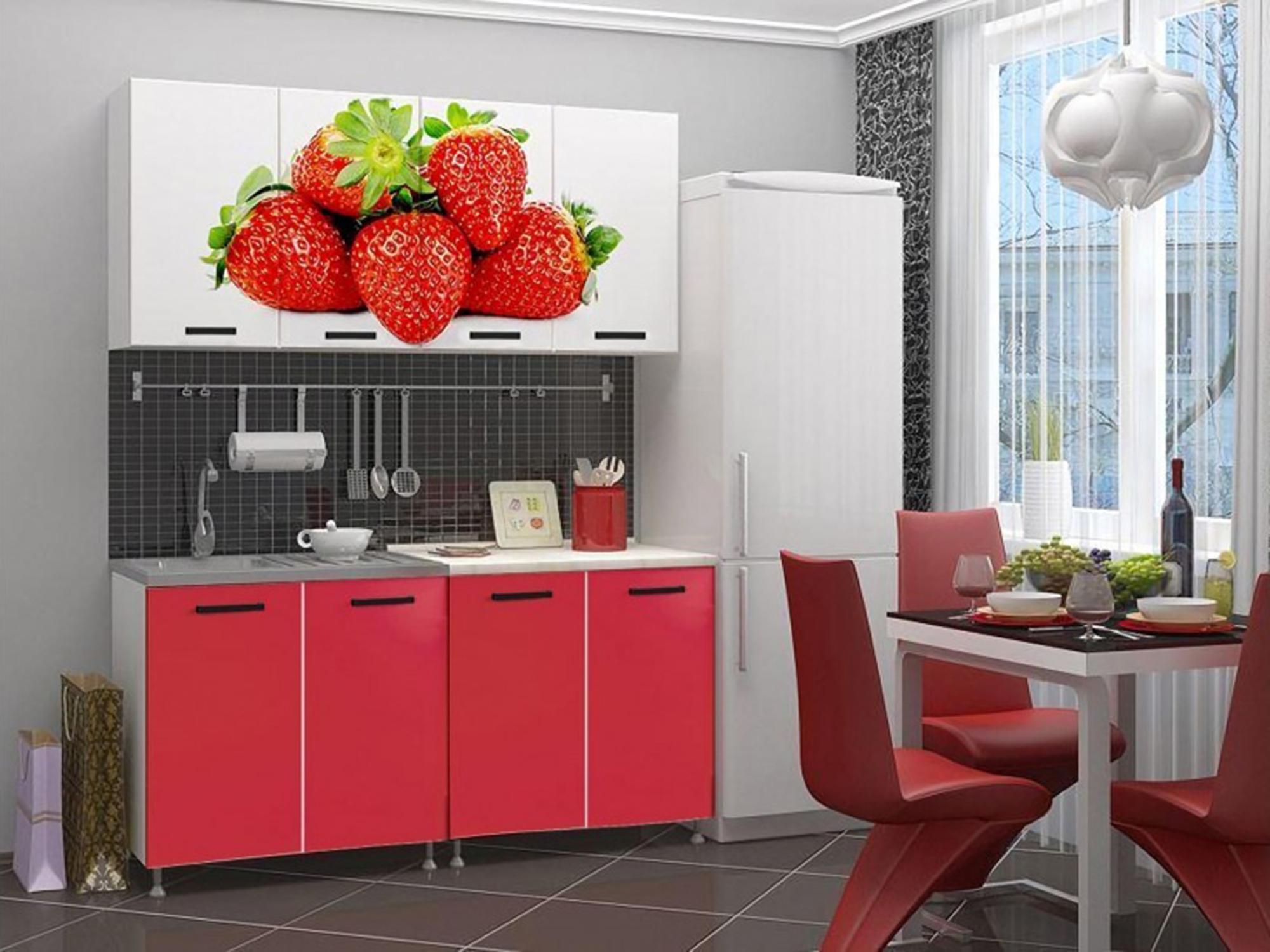 Кухня Рио-1 1600 Красный, , Белый, ЛДСП с фотопечатью, ЛДСП Белый, Красный