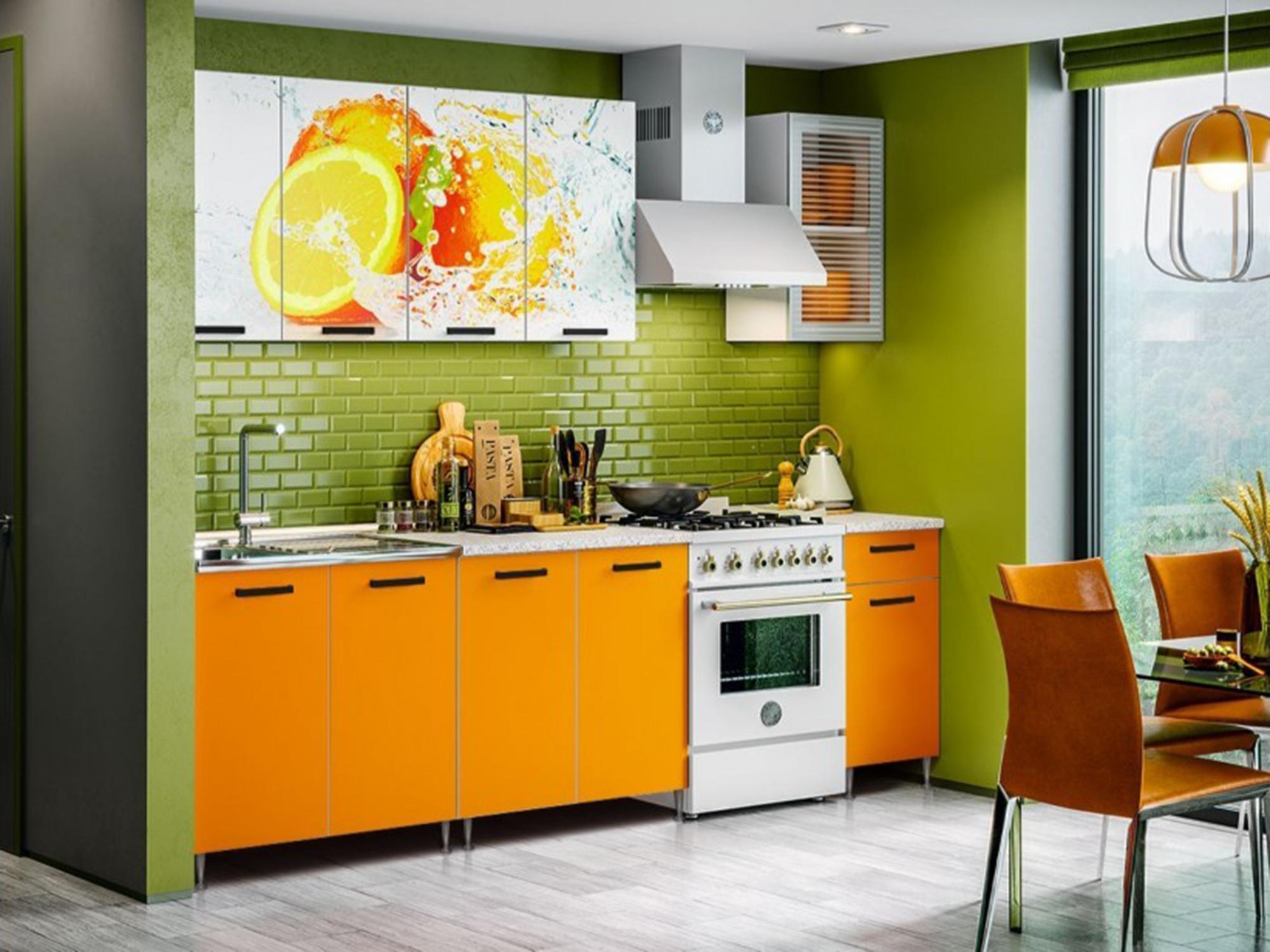 Кухня Рио-1 2000 Оранжевый, , Белый, ЛДСП, Стекло Белый, Оранжевый