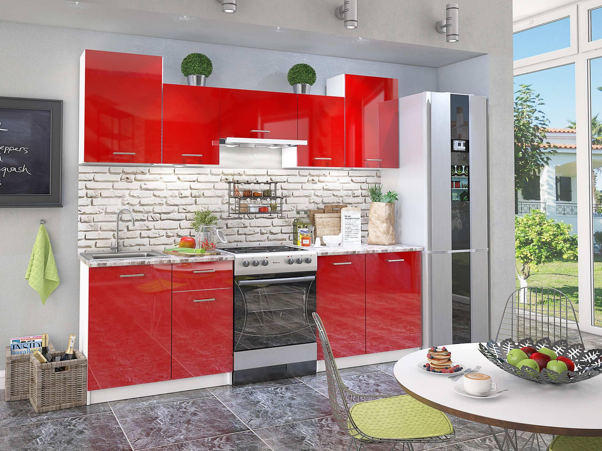 Кухонный гарнитур Бланка Красный глянец, Красный, Белый