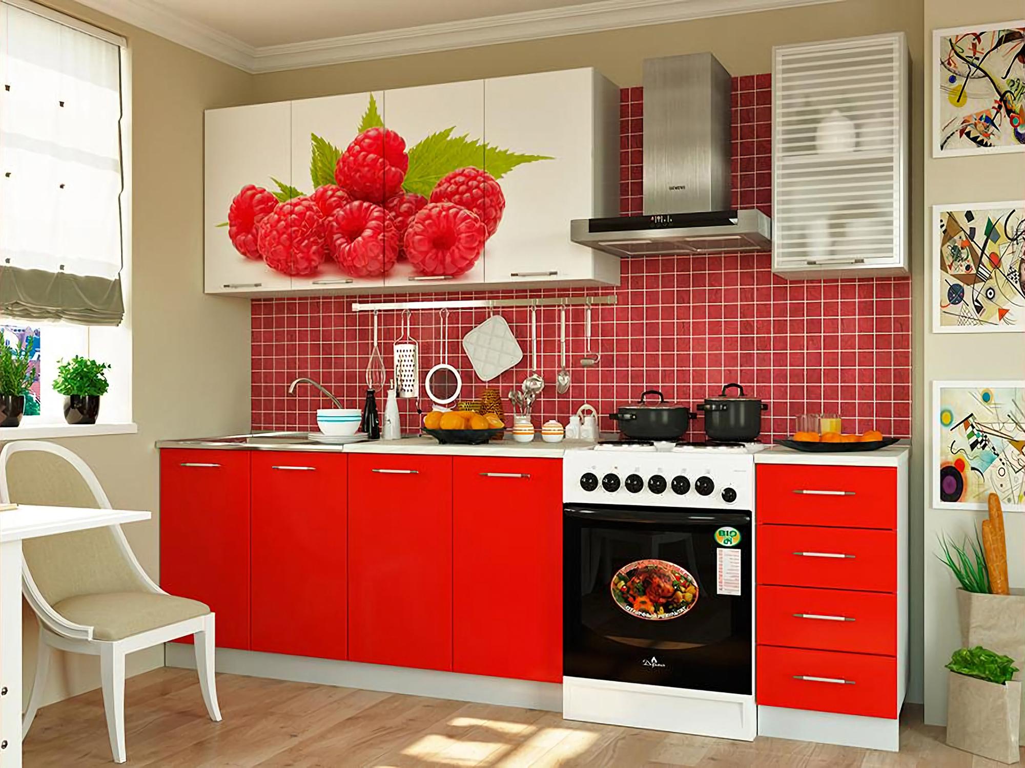 Кухня Малина 2000 Белый, Красный