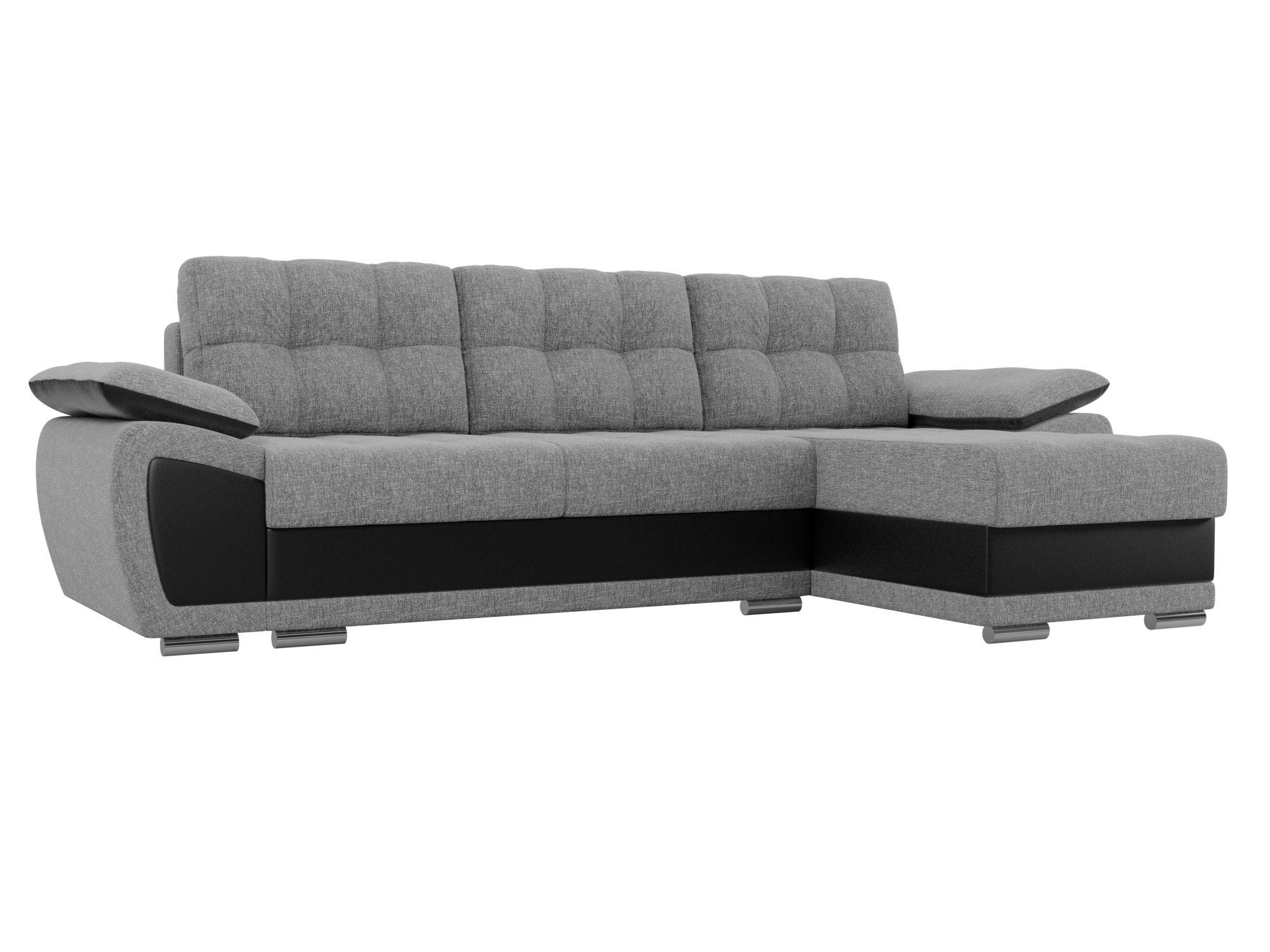 Угловой диван Нестор (Риттэр) Правый MebelVia Серый, Черный