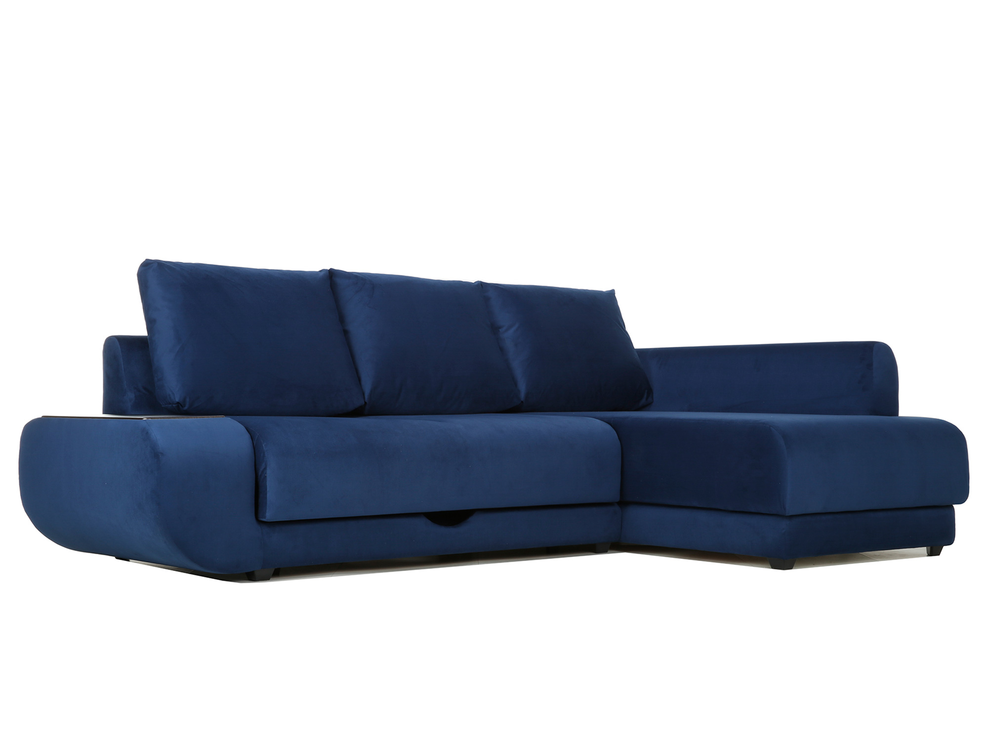 Угловой диван с независимым пружинным блоком Поло ПБ (Нью-Йорк) Правый MebelVia Синий
