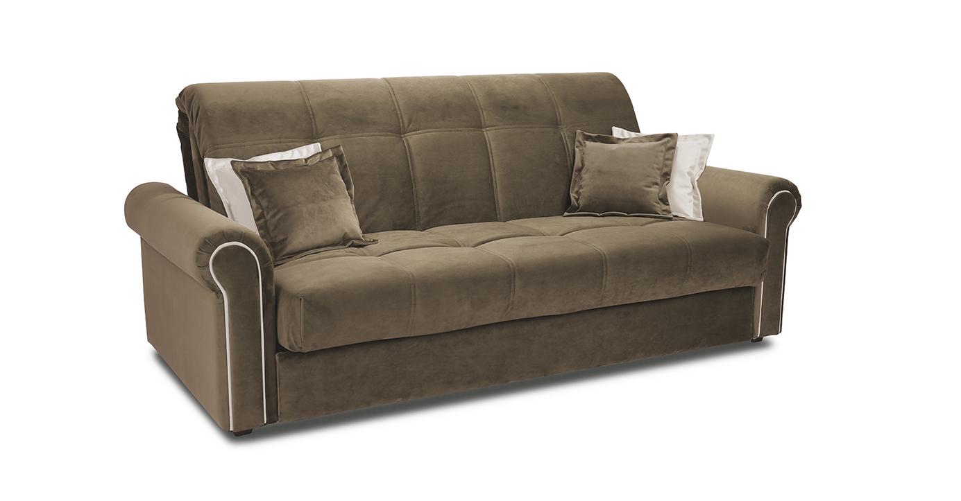 ТриЯ диван Глория Т1 Beauty 04 (велюр), коричневый, кант Beauty 02 (велюр), капучин