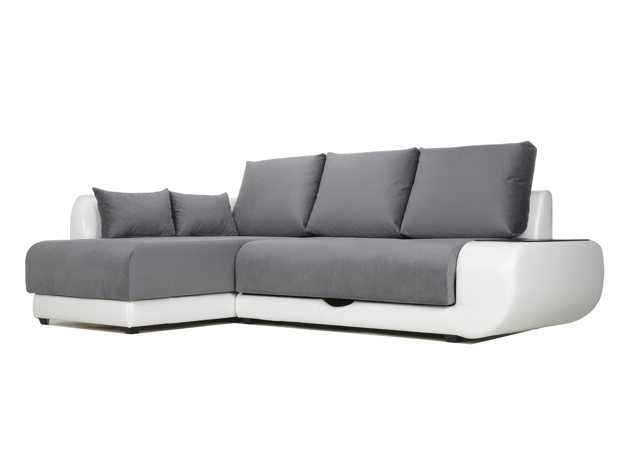 Угловой диван с независимым пружинным блоком Поло ПБ (Нью-Йорк) Левый MebelVia Белый, Черный