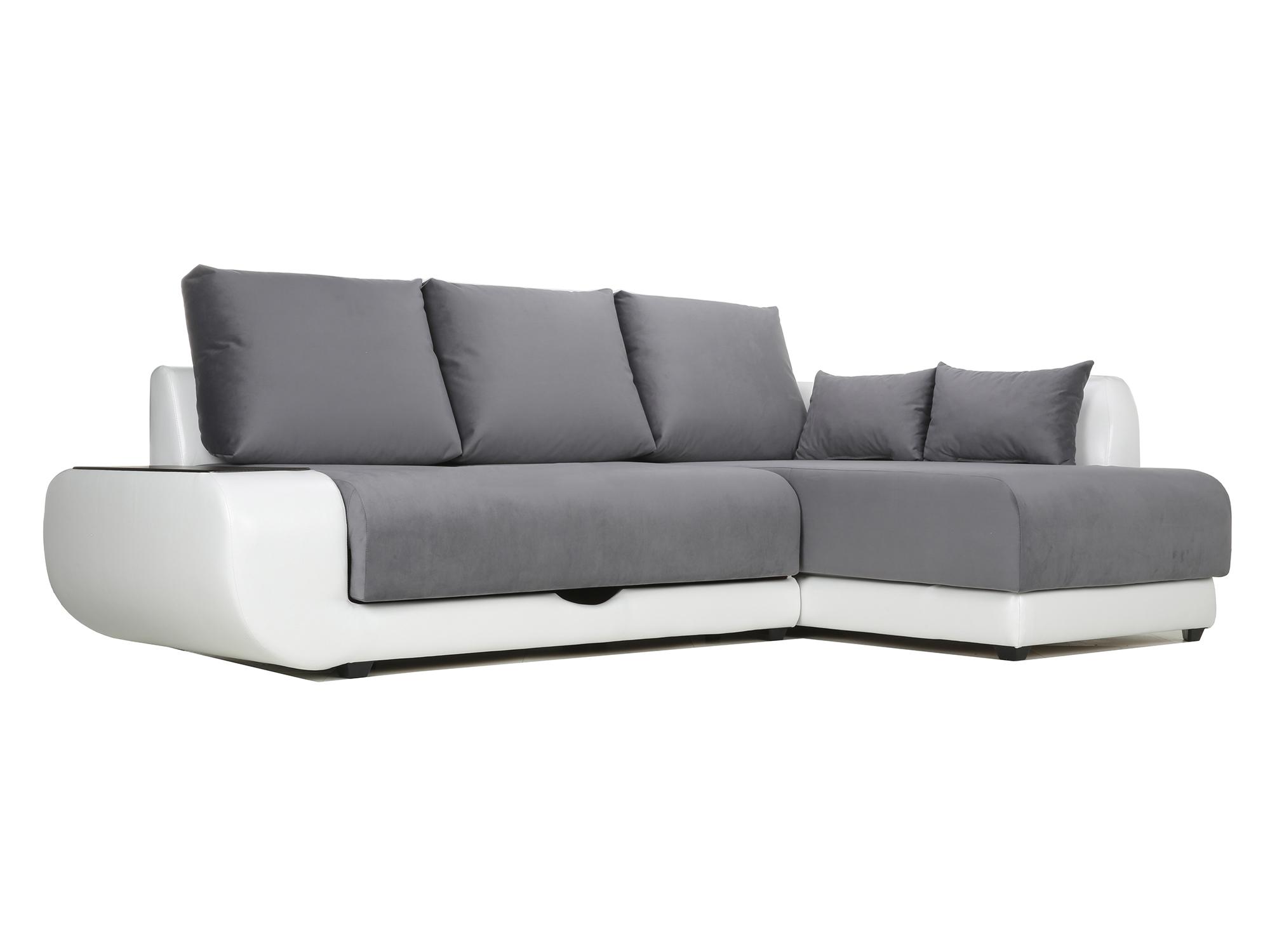 Угловой диван с независимым пружинным блоком Поло ПБ (Нью-Йорк) Правый MebelVia Белый, Черный