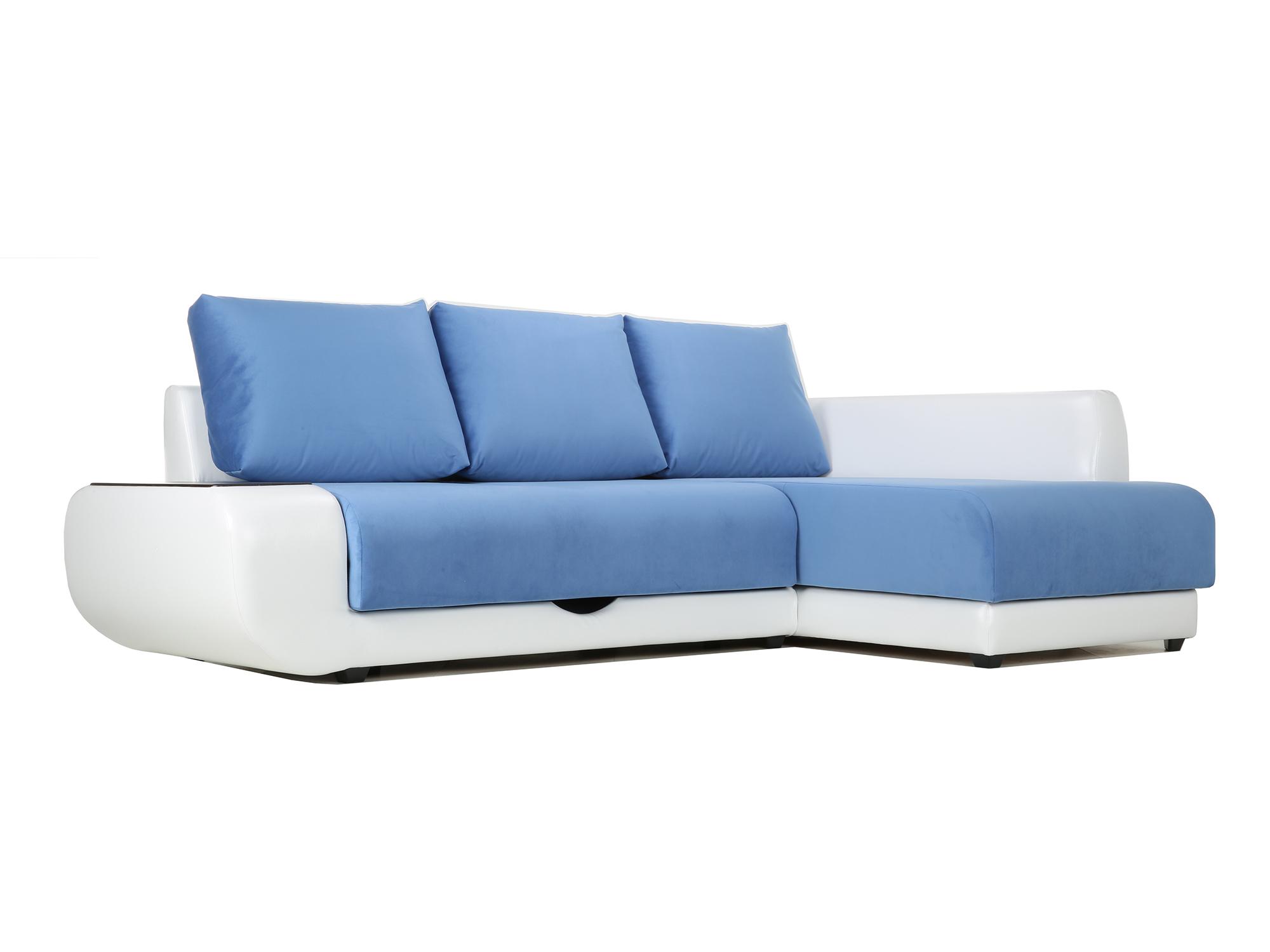Угловой диван с независимым пружинным блоком Поло ПБ (Нью-Йорк) Правый MebelVia Белый, Синий