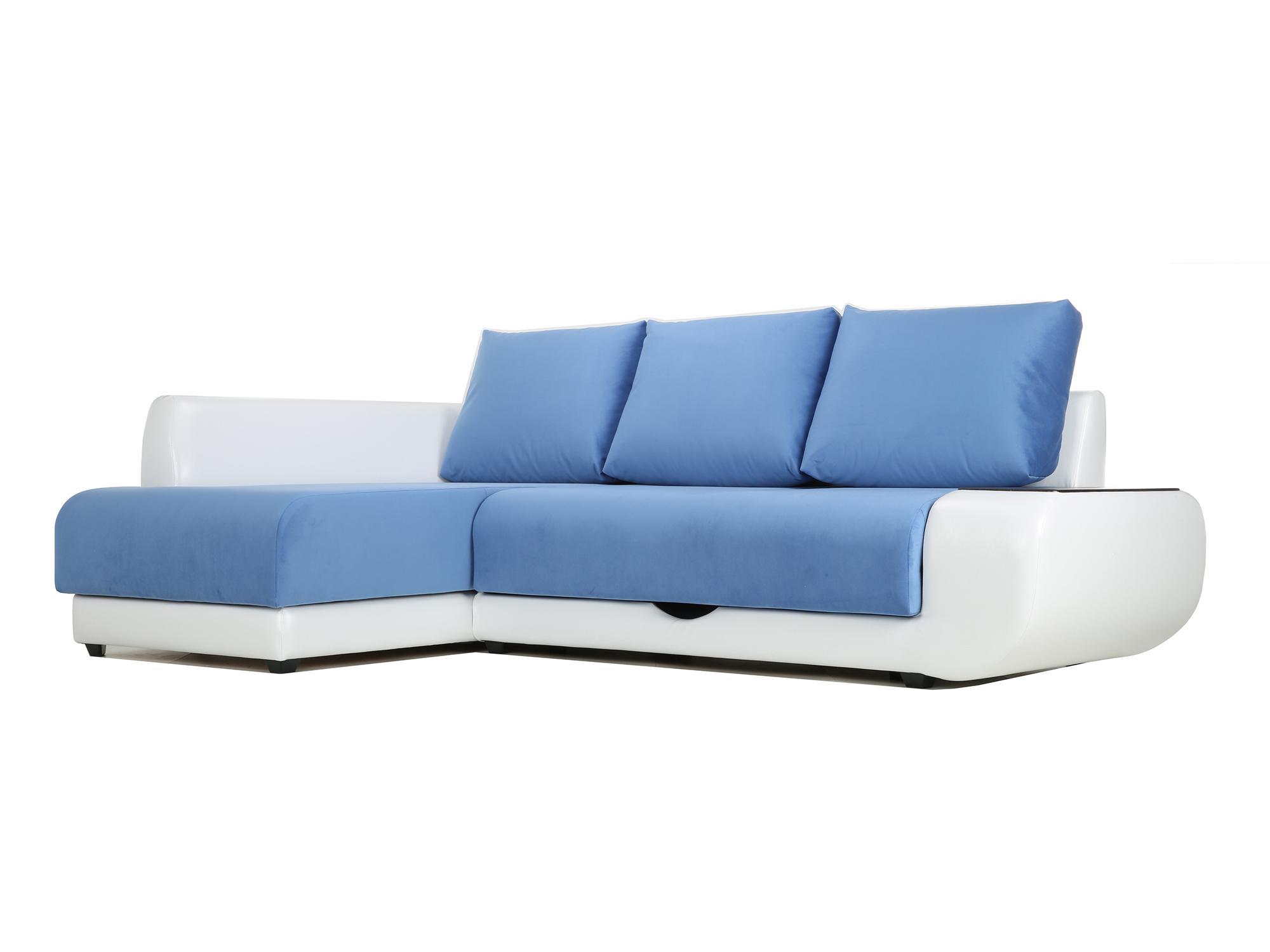 Угловой диван с независимым пружинным блоком Поло ПБ (Нью-Йорк) Левый MebelVia Белый, Синий