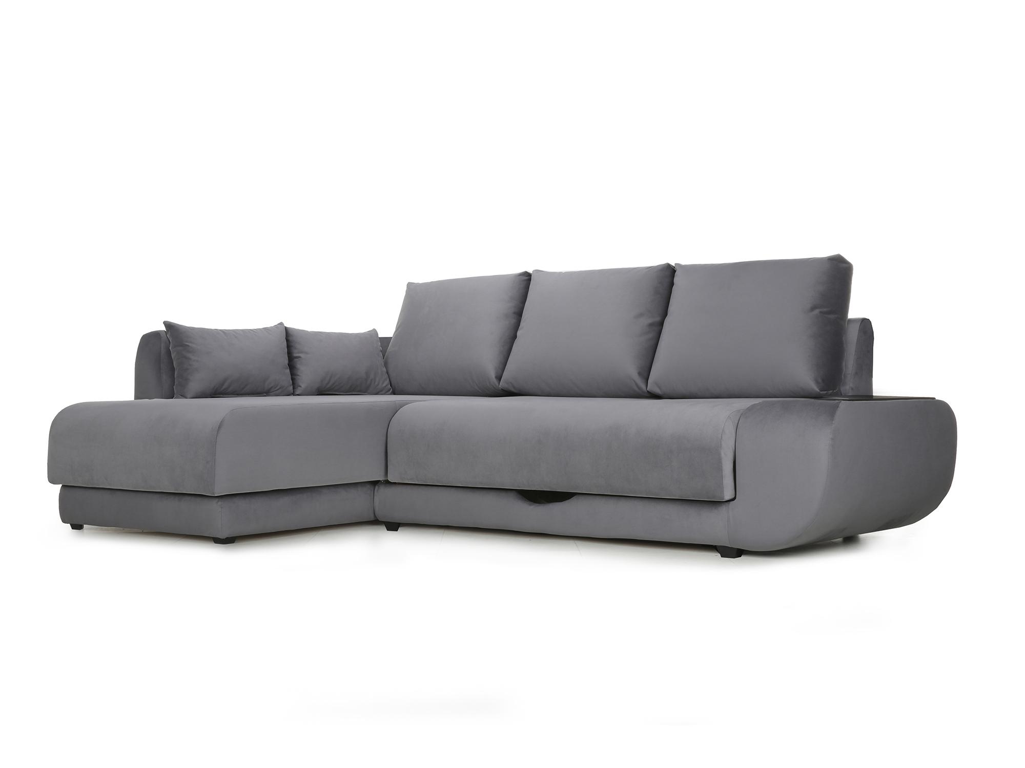 Угловой диван с независимым пружинным блоком Поло ПБ (Нью-Йорк) Левый MebelVia Черный