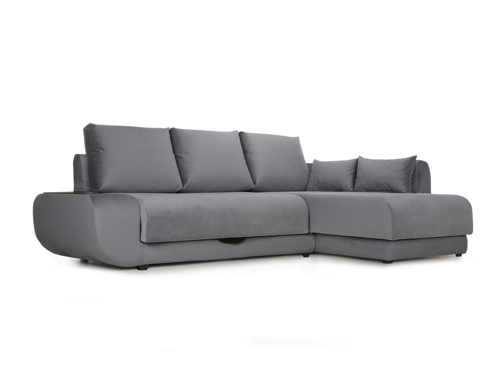 Угловой диван с независимым пружинным блоком Поло ПБ (Нью-Йорк) Правый MebelVia Черный