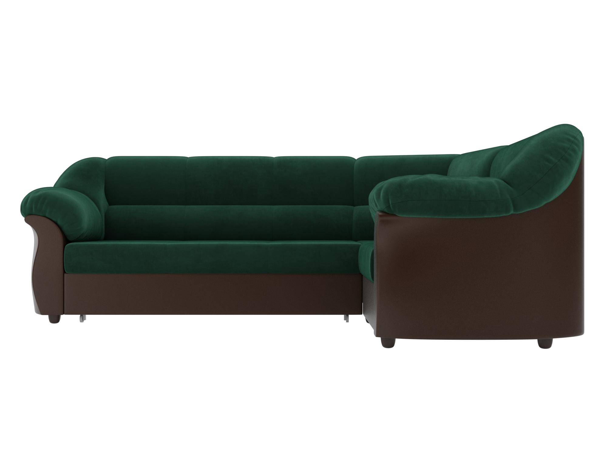 Угловой диван Карнелла Правый MebelVia Зеленый, Коричневый