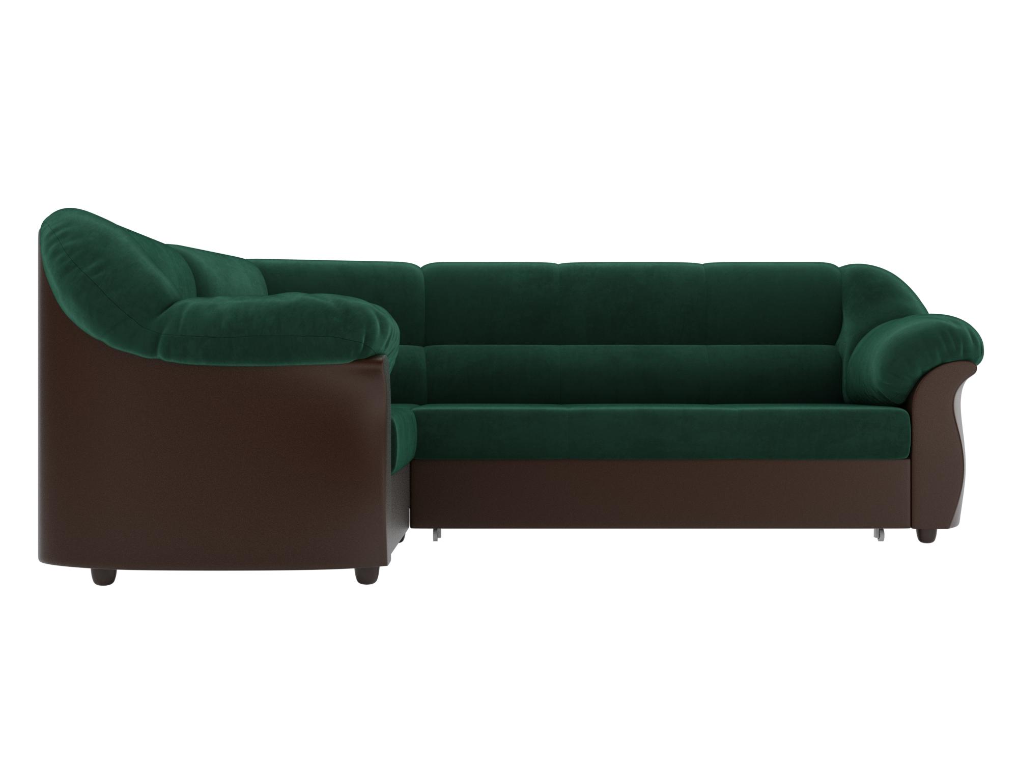 Угловой диван Карнелла Левый MebelVia Зеленый, Коричневый