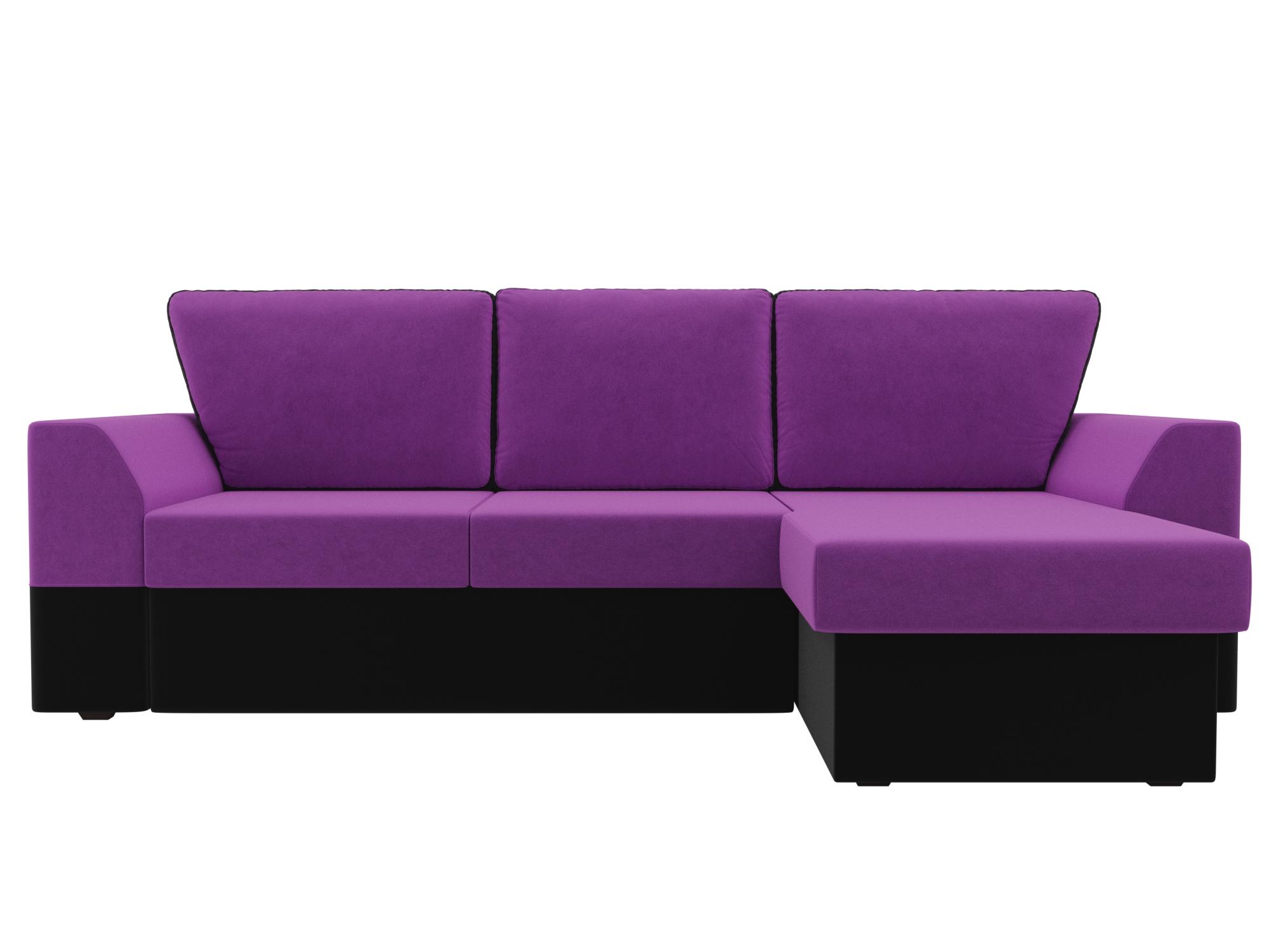 Угловой диван Морган Правый MebelVia Фиолетовый, Черный