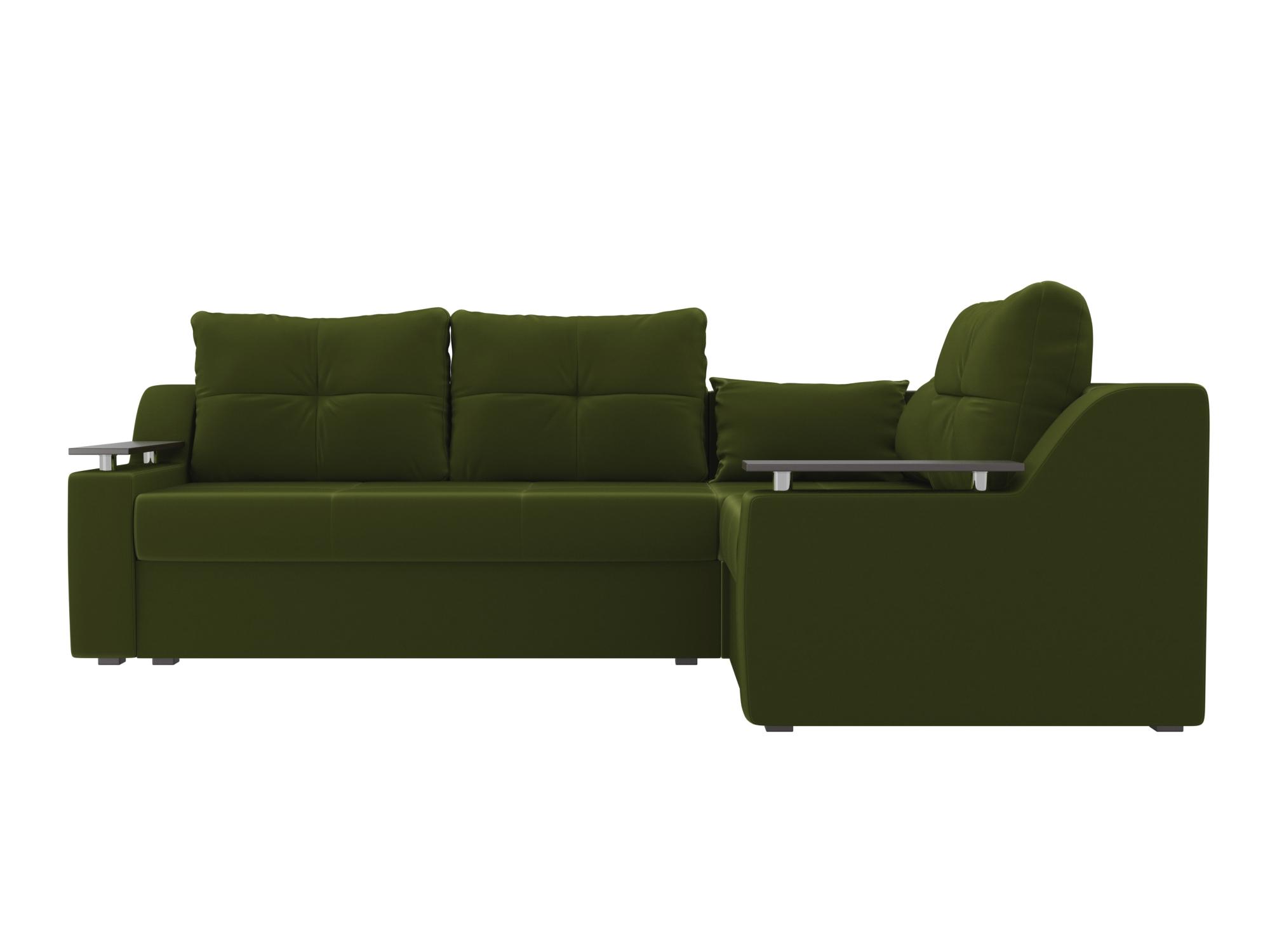 Угловой диван Кронос Правый MebelVia Зеленый, Микровельвет, ЛДСП Зеленый