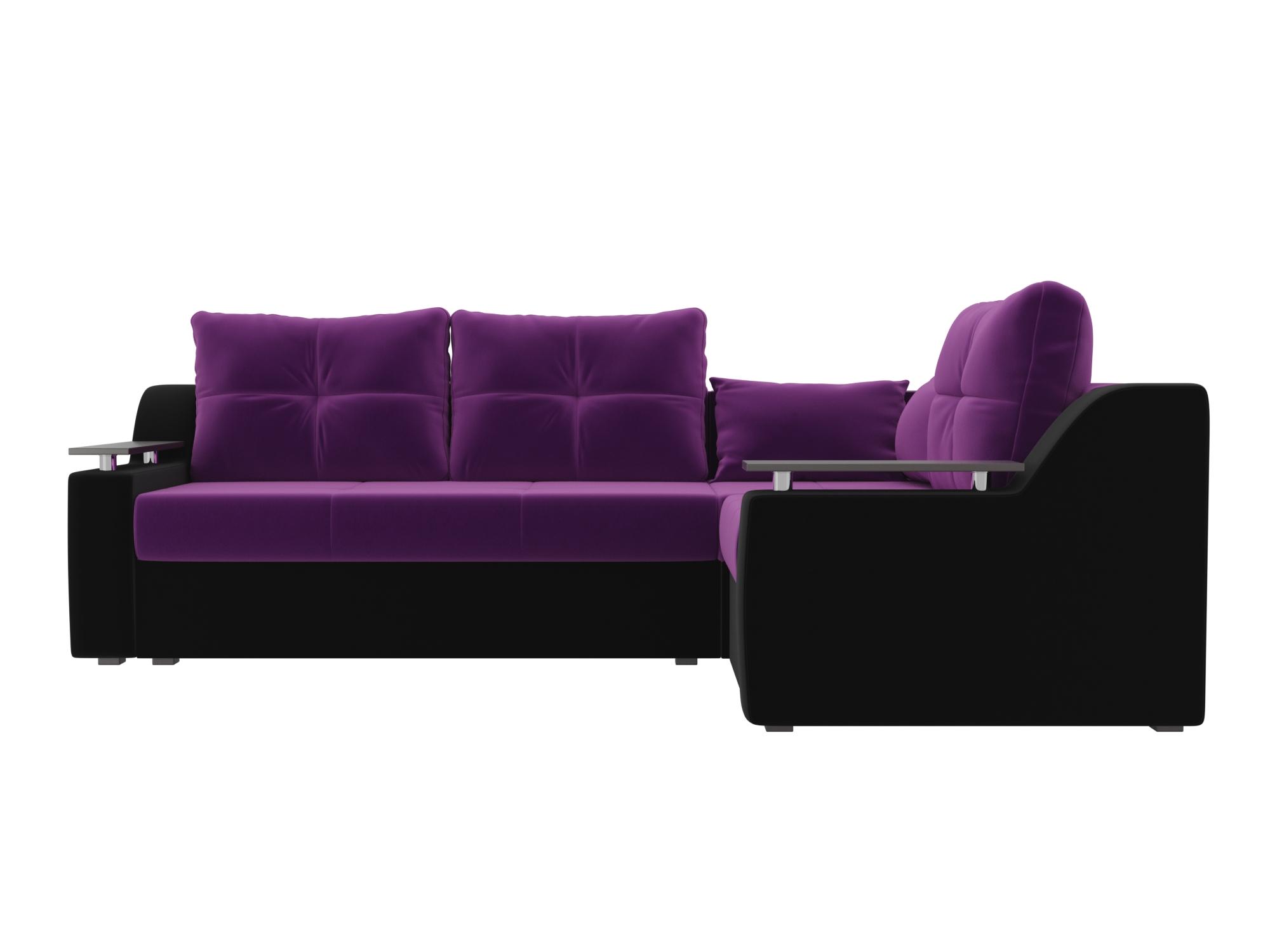 Угловой диван Кронос Правый MebelVia Фиолетовый, Черный Фиолетовый, Черный