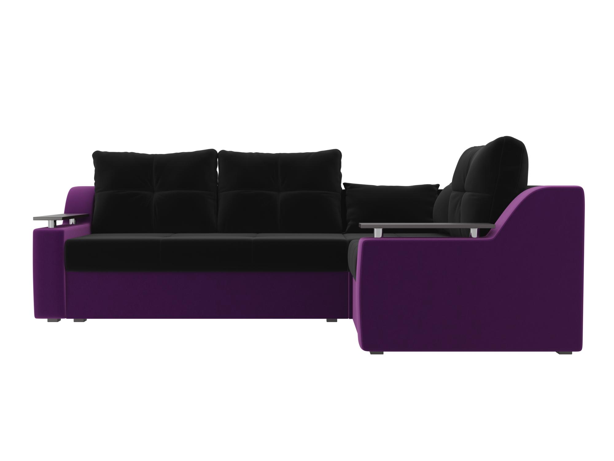 Угловой диван Кронос Правый MebelVia Черный, Фиолетовый Фиолетовый, Черный