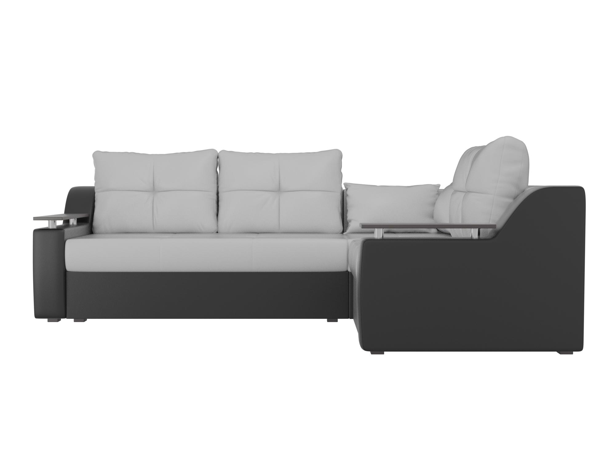 Угловой диван Кронос Правый MebelVia Белый, Черный, Экокожа, ЛДСП Белый, Черный