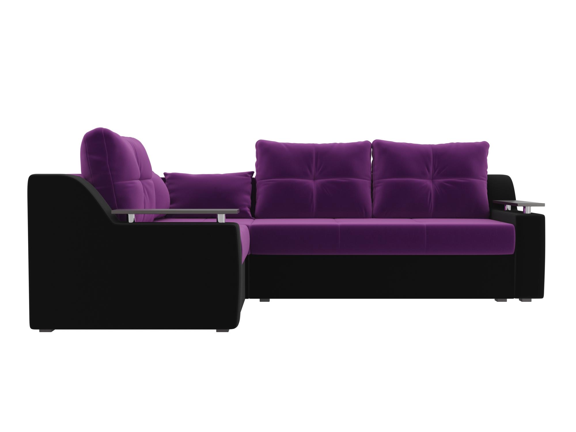 Угловой диван Кронос Левый MebelVia Фиолетовый, Черный, Микровельвет Фиолетовый, Черный
