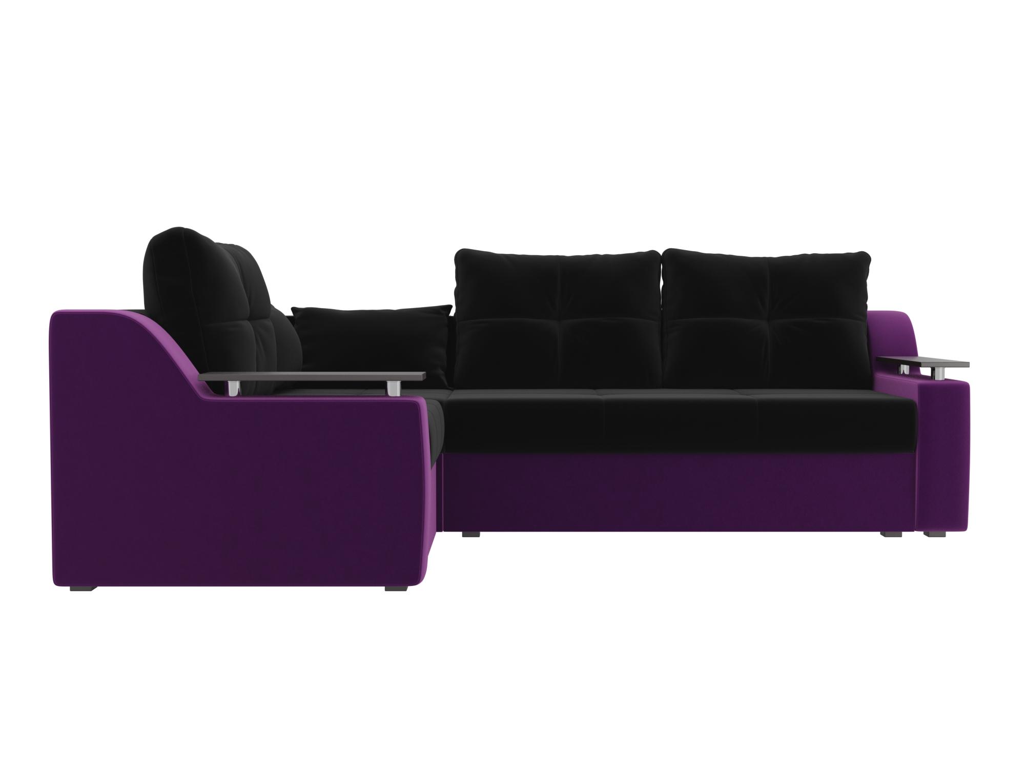 Угловой диван Кронос Левый MebelVia Черный, Фиолетовый, Микровельвет Фиолетовый, Черный