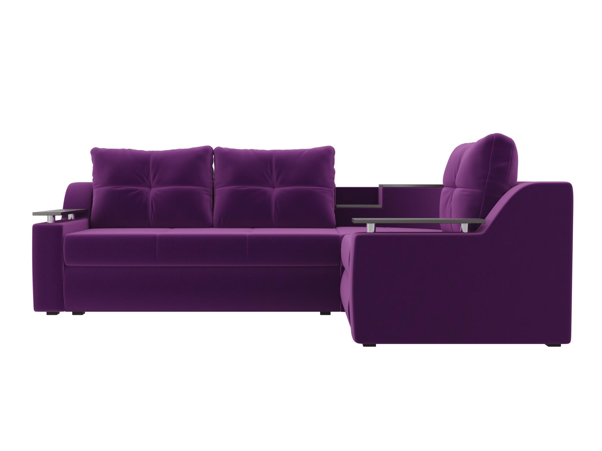 Угловой диван Тесей Правый MebelVia Фиолетовый, Микровельвет, ЛДСП Фиолетовый