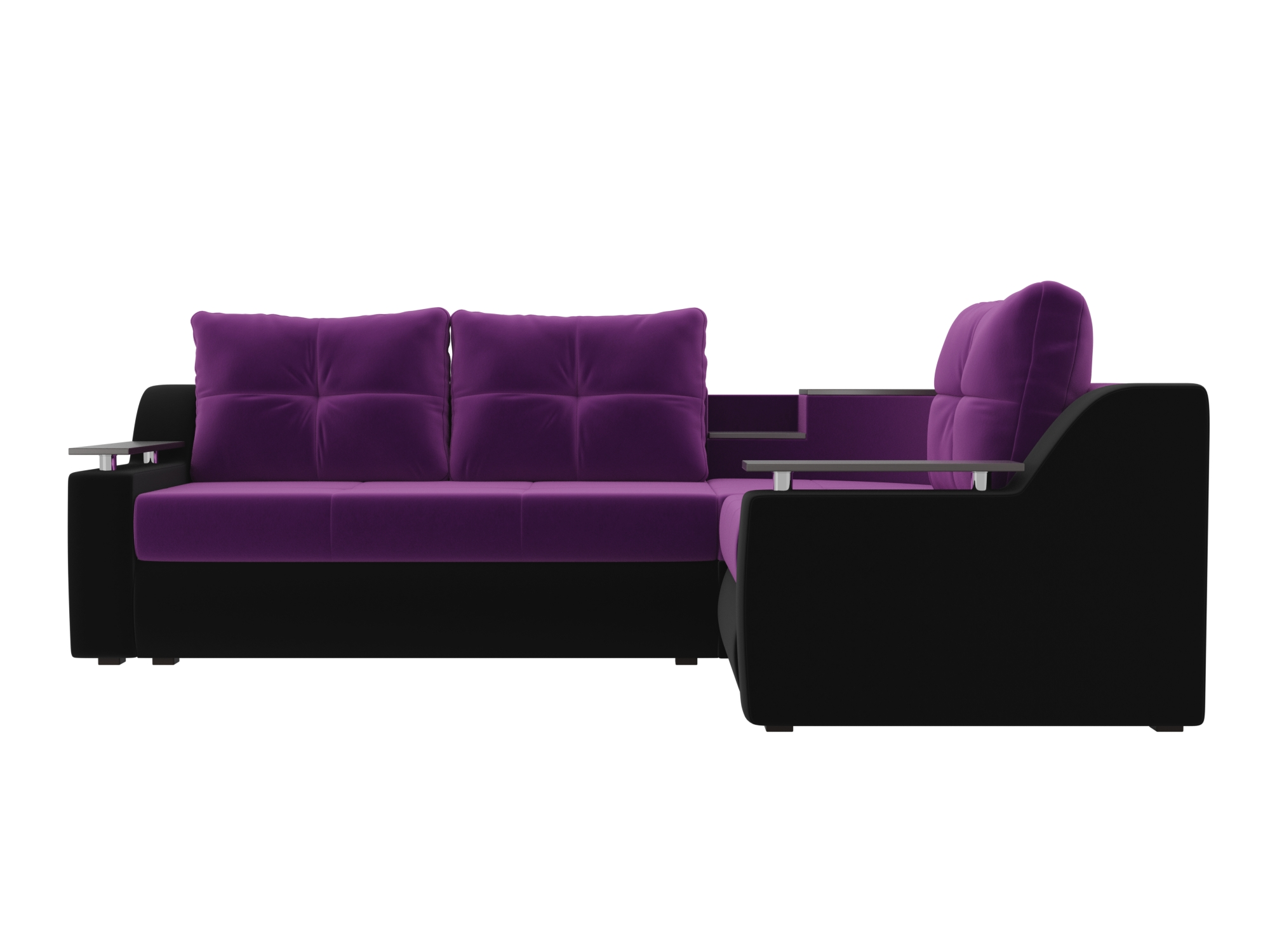 Угловой диван Тесей Правый MebelVia Фиолетовый, Черный, Микровельвет Фиолетовый, Черный