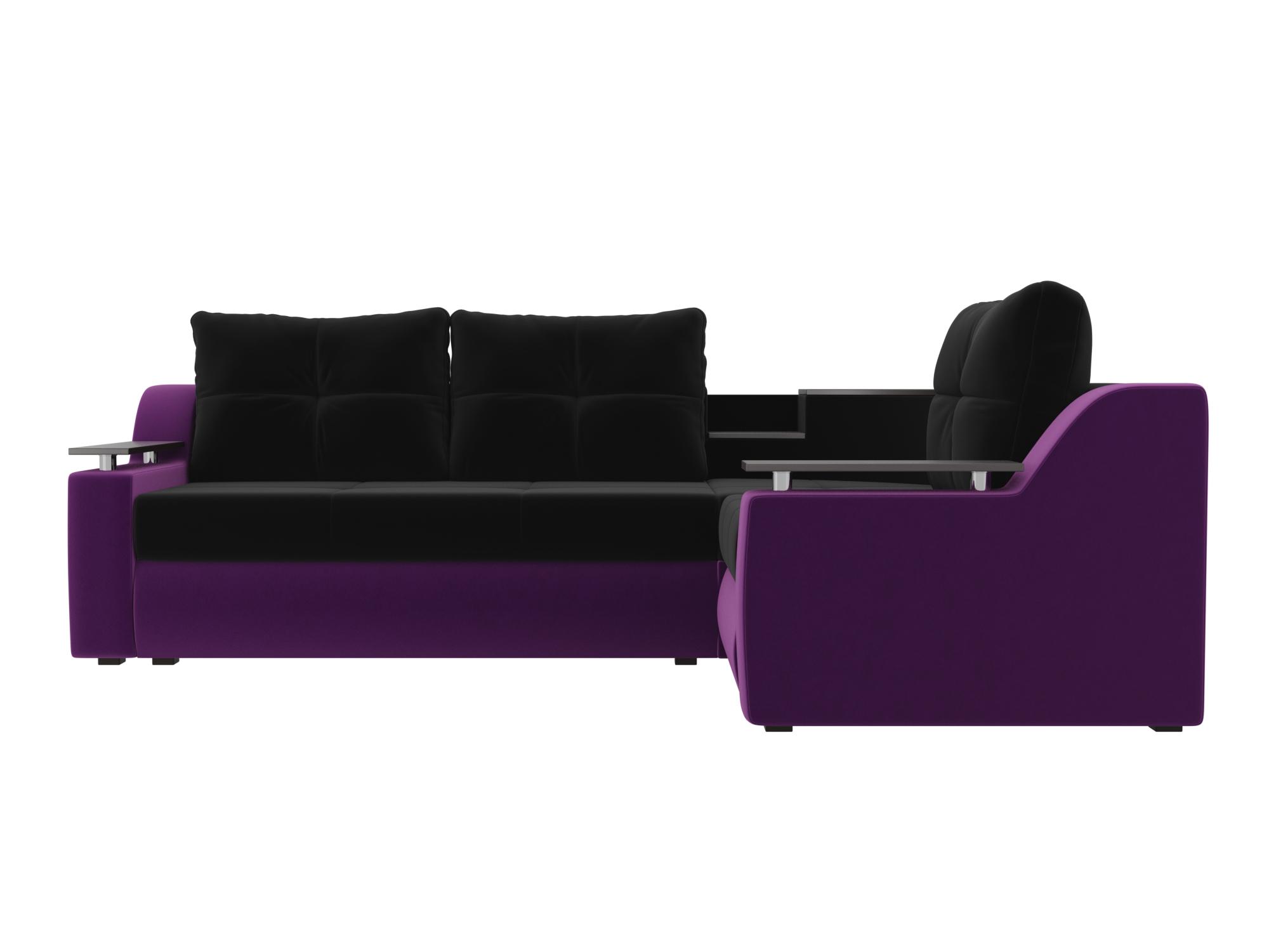 Угловой диван Тесей Правый MebelVia Черный, Фиолетовый, Микровельвет Фиолетовый, Черный