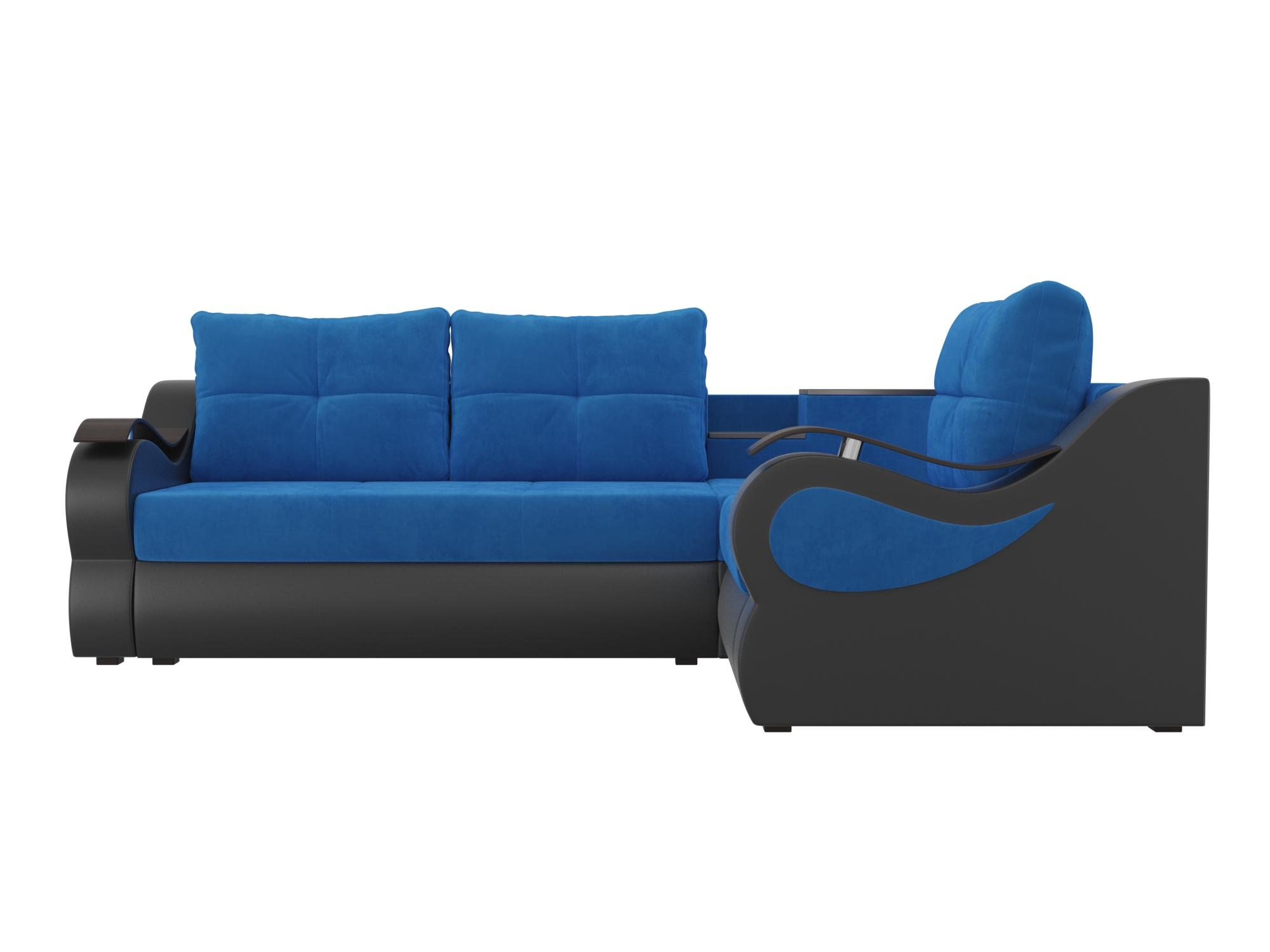 Угловой диван Митчелл Правый MebelVia Голубой, Черный, Велюр, ЛДСП Голубой, Черный