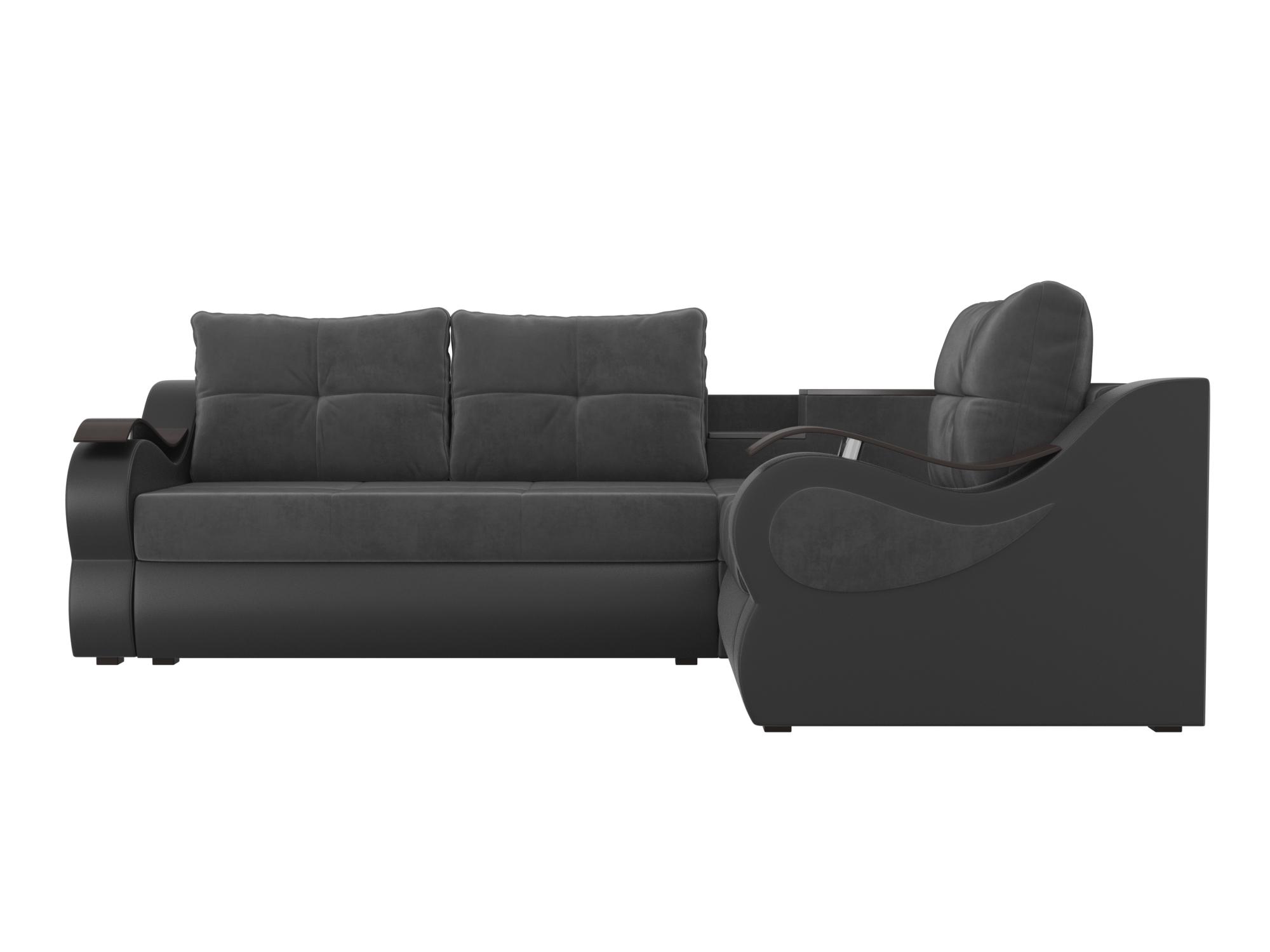 Угловой диван Митчелл Правый MebelVia Серый, Черный, Велюр, ЛДСП Серый, Черный