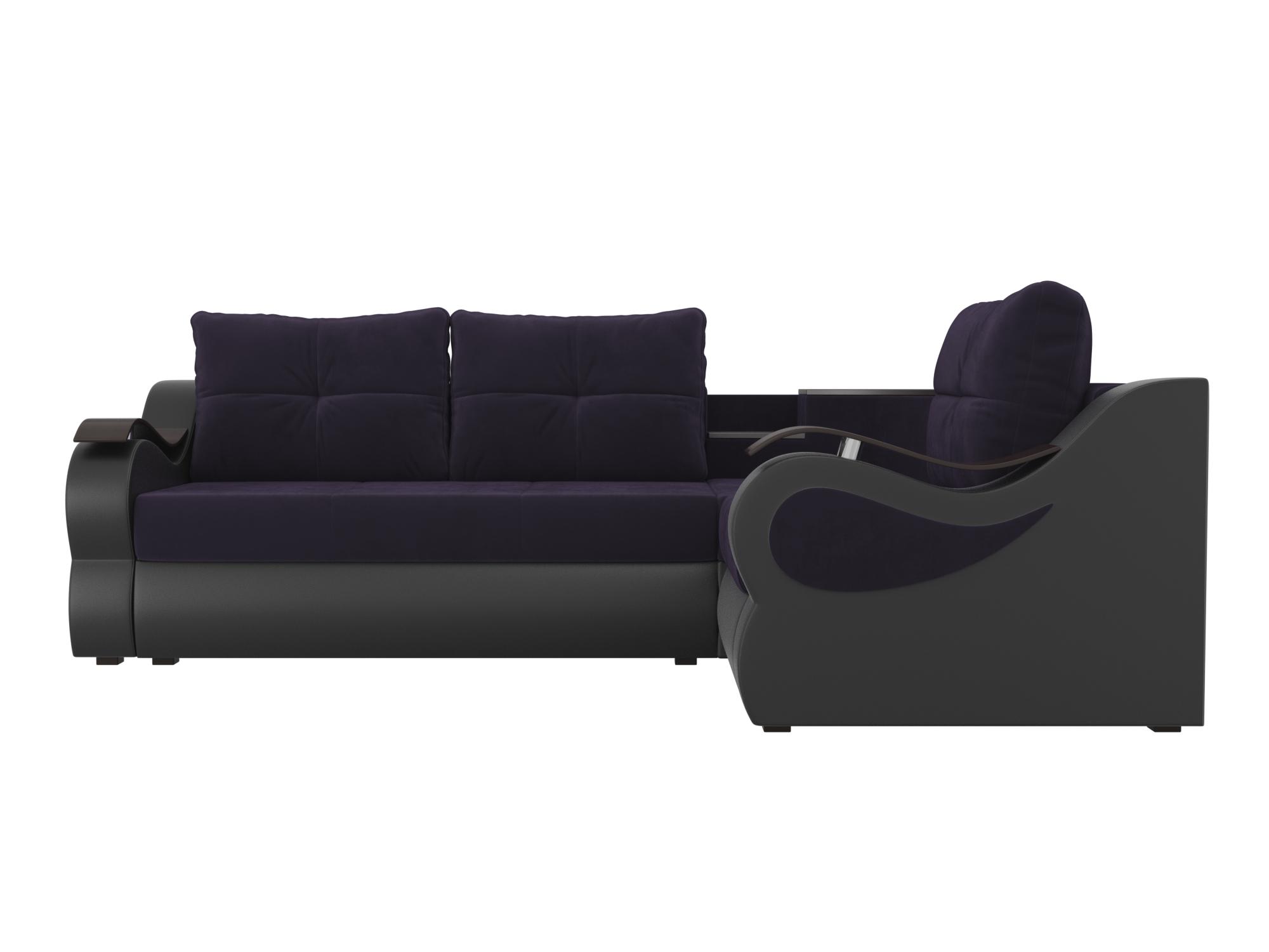 Угловой диван Митчелл Правый MebelVia Фиолетовый, Черный, Велюр, ЛДСП Фиолетовый, Черный