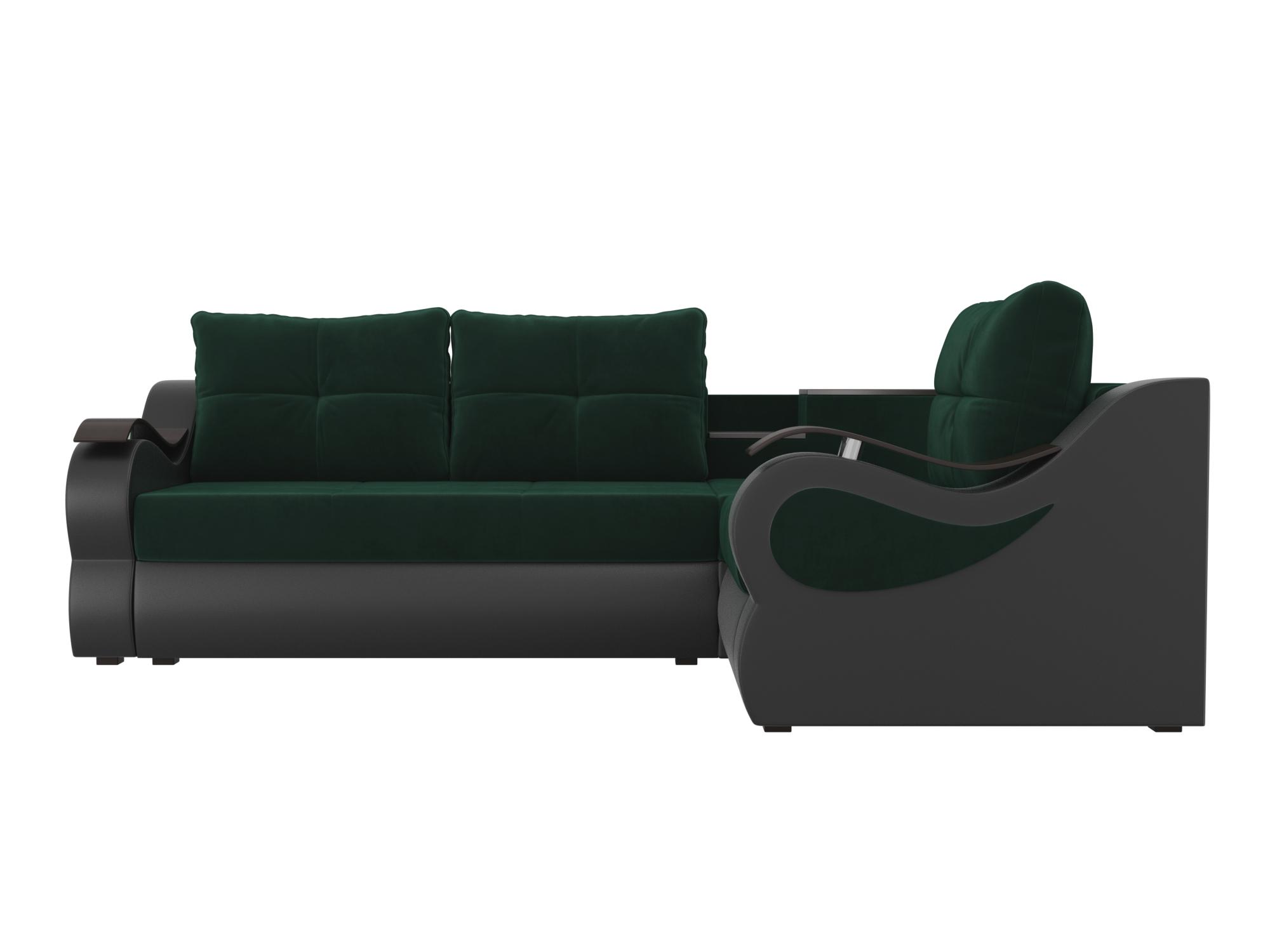 Угловой диван Митчелл Правый MebelVia Зеленый, Коричневый, Велюр, ЛДС Зеленый, Коричневый