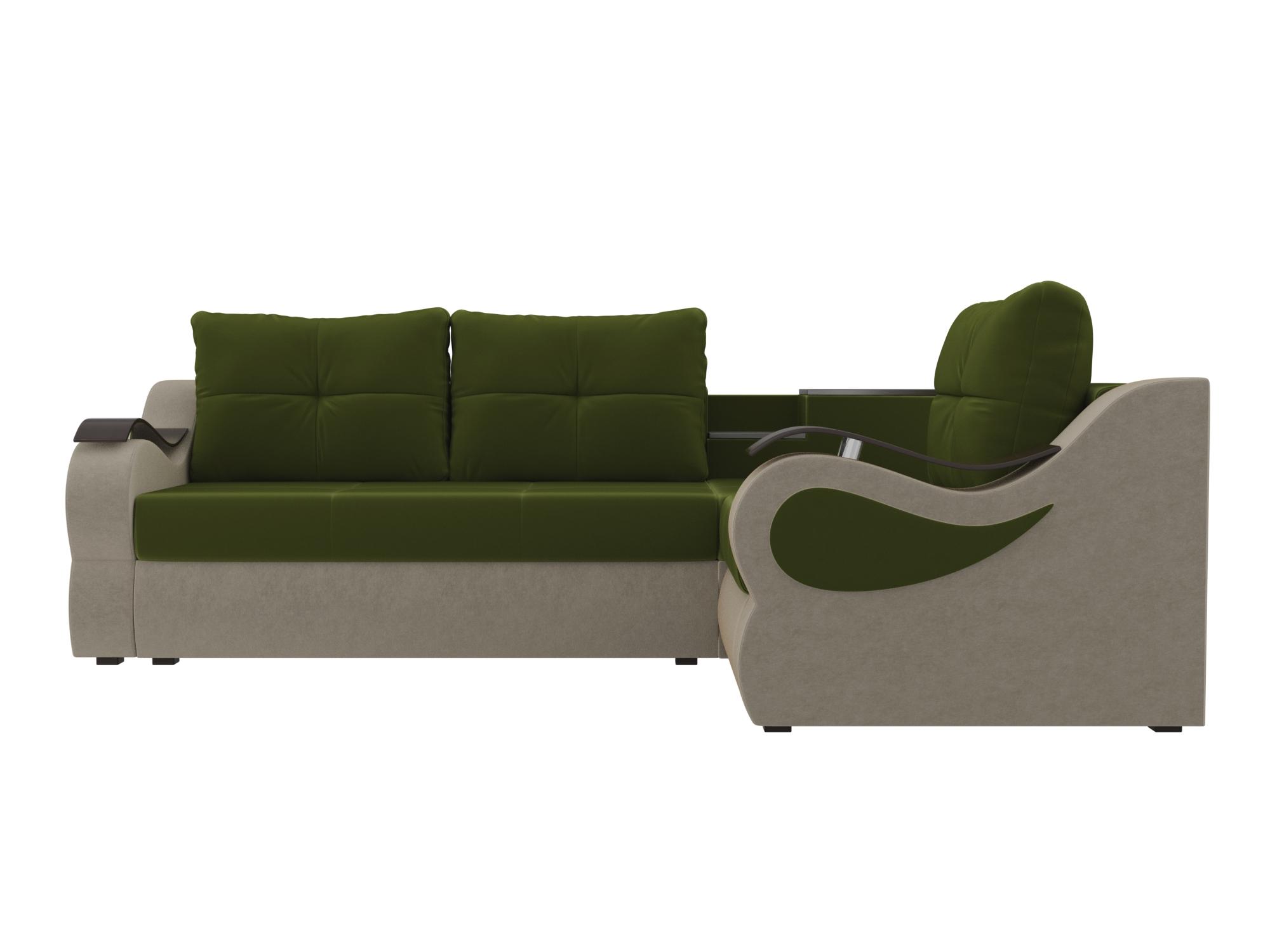 Угловой диван Митчелл Правый MebelVia Зеленый, Бежевый, Микровельвет Бежевый, Зеленый