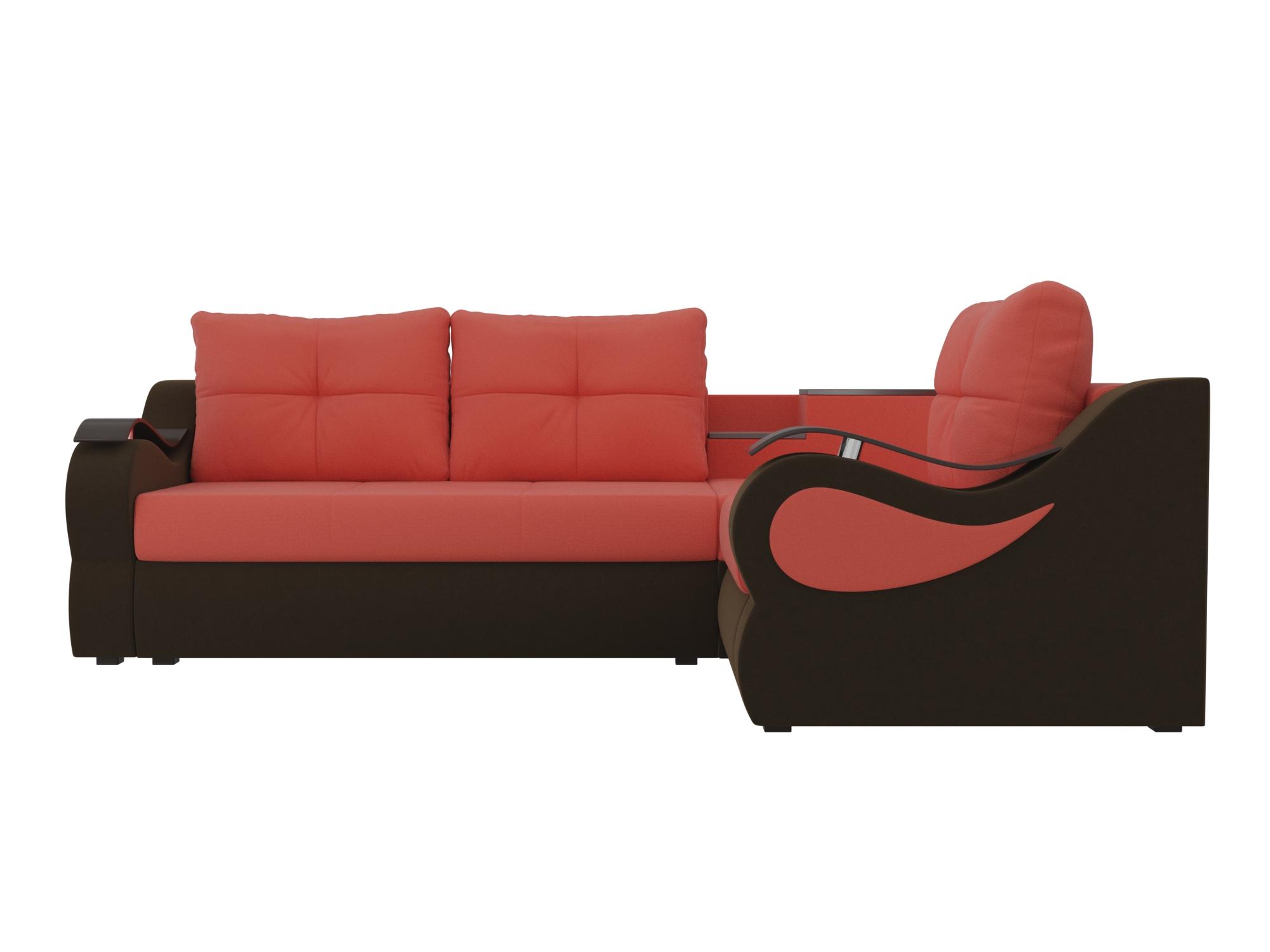 Угловой диван Митчелл Правый MebelVia Красный, Коричневый Коричневый, Красный
