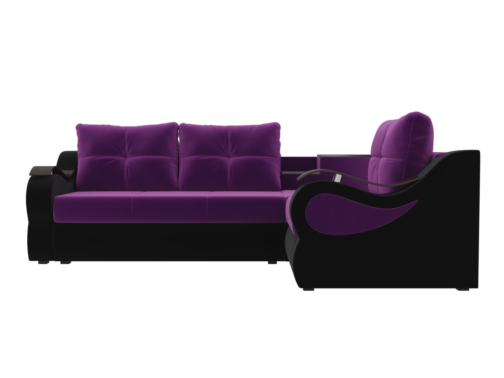 Угловой диван Митчелл Правый MebelVia Фиолетовый, Черный Фиолетовый, Черный
