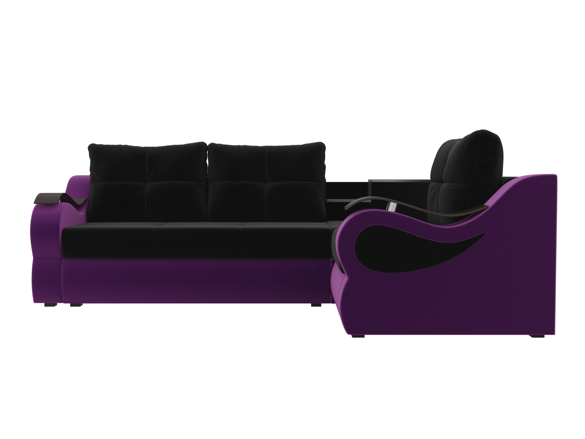Угловой диван Митчелл Правый MebelVia Черный, Фиолетовый Фиолетовый, Черный