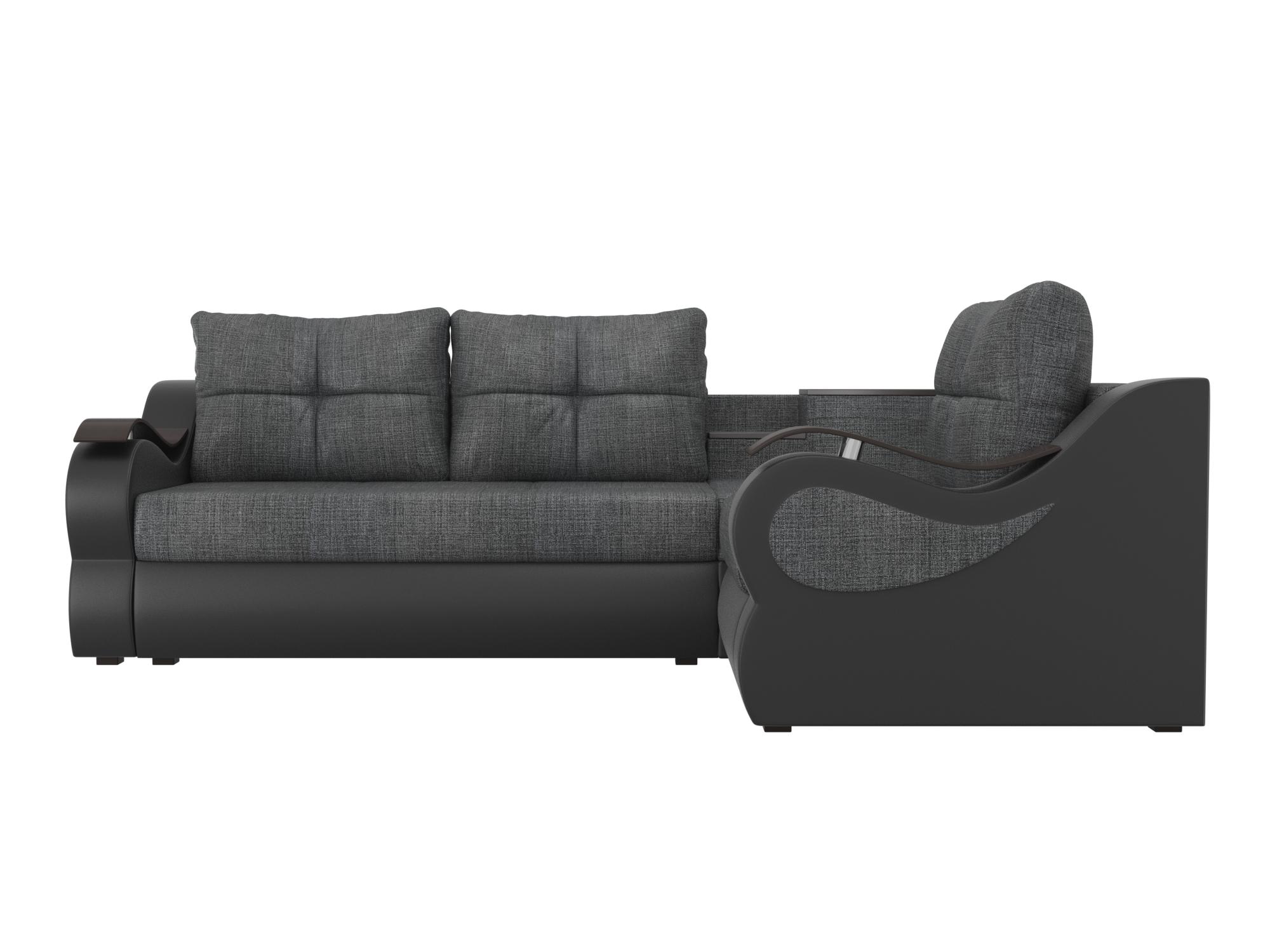 Угловой диван Митчелл Правый MebelVia Серый, Черный, Рогожка, ЛДСП Серый, Черный