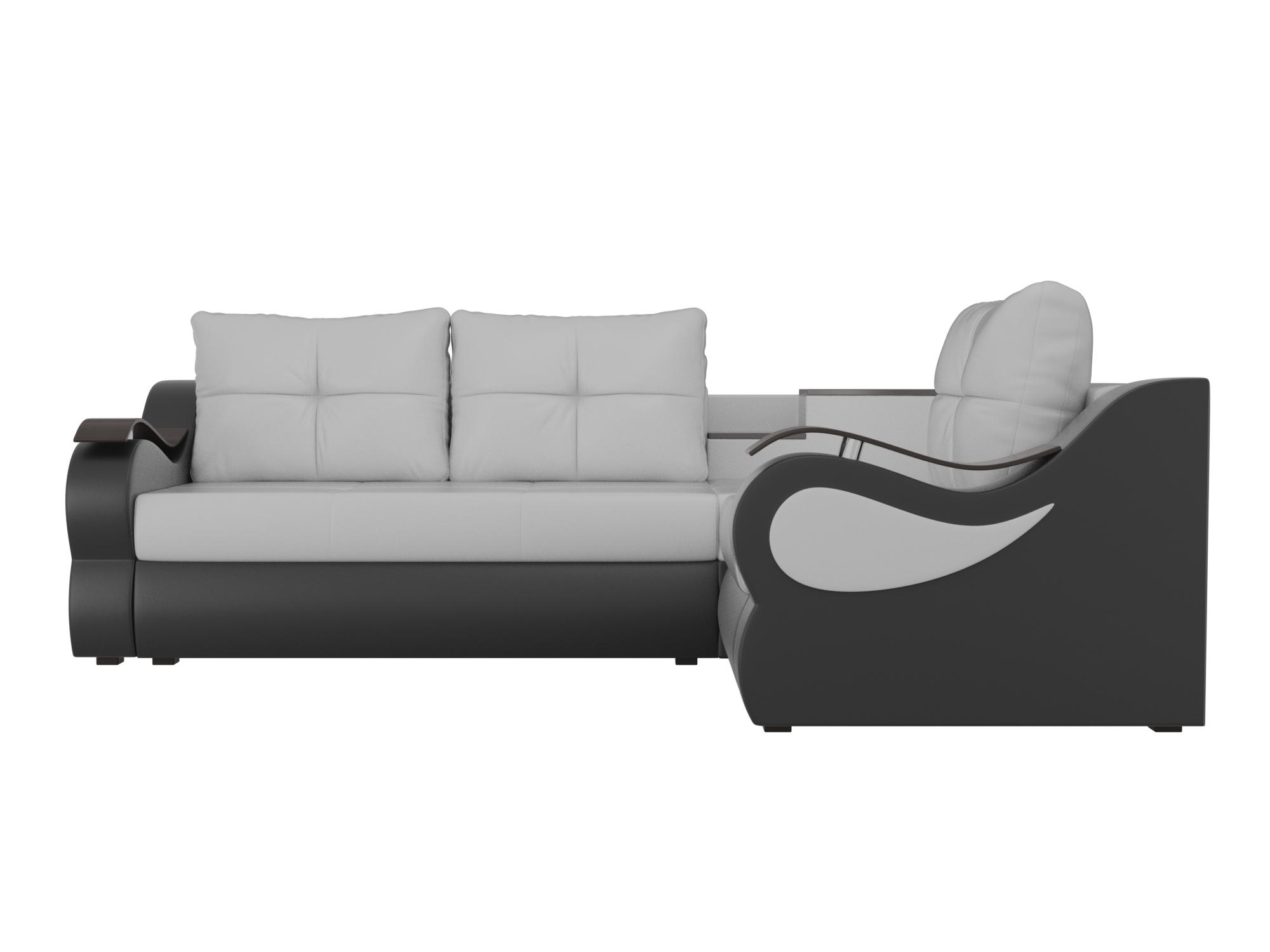Угловой диван Митчелл Правый MebelVia Белый, Черный, Экокожа, ЛДСП Белый, Черный
