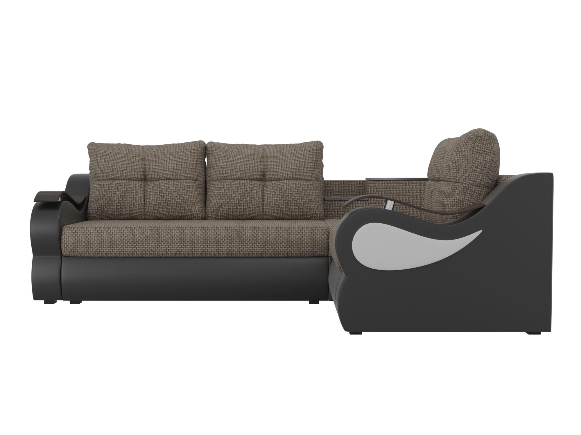 Угловой диван Митчелл Правый MebelVia Коричневый, Черный, Рогожка Коричневый, Черный