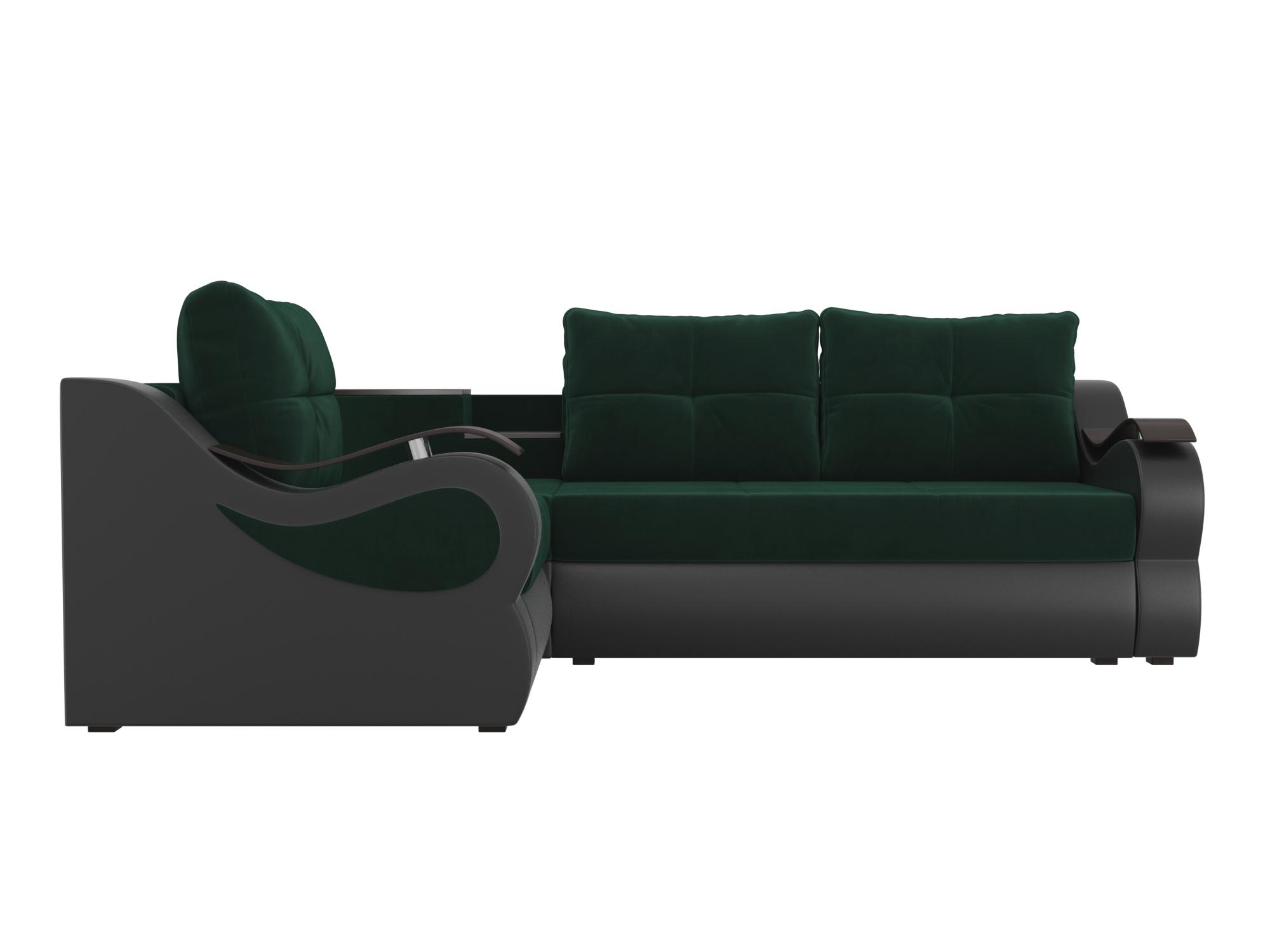 Угловой диван Митчелл Левый MebelVia Зеленый, Коричневый, Велюр, ЛДСП Зеленый, Коричневый
