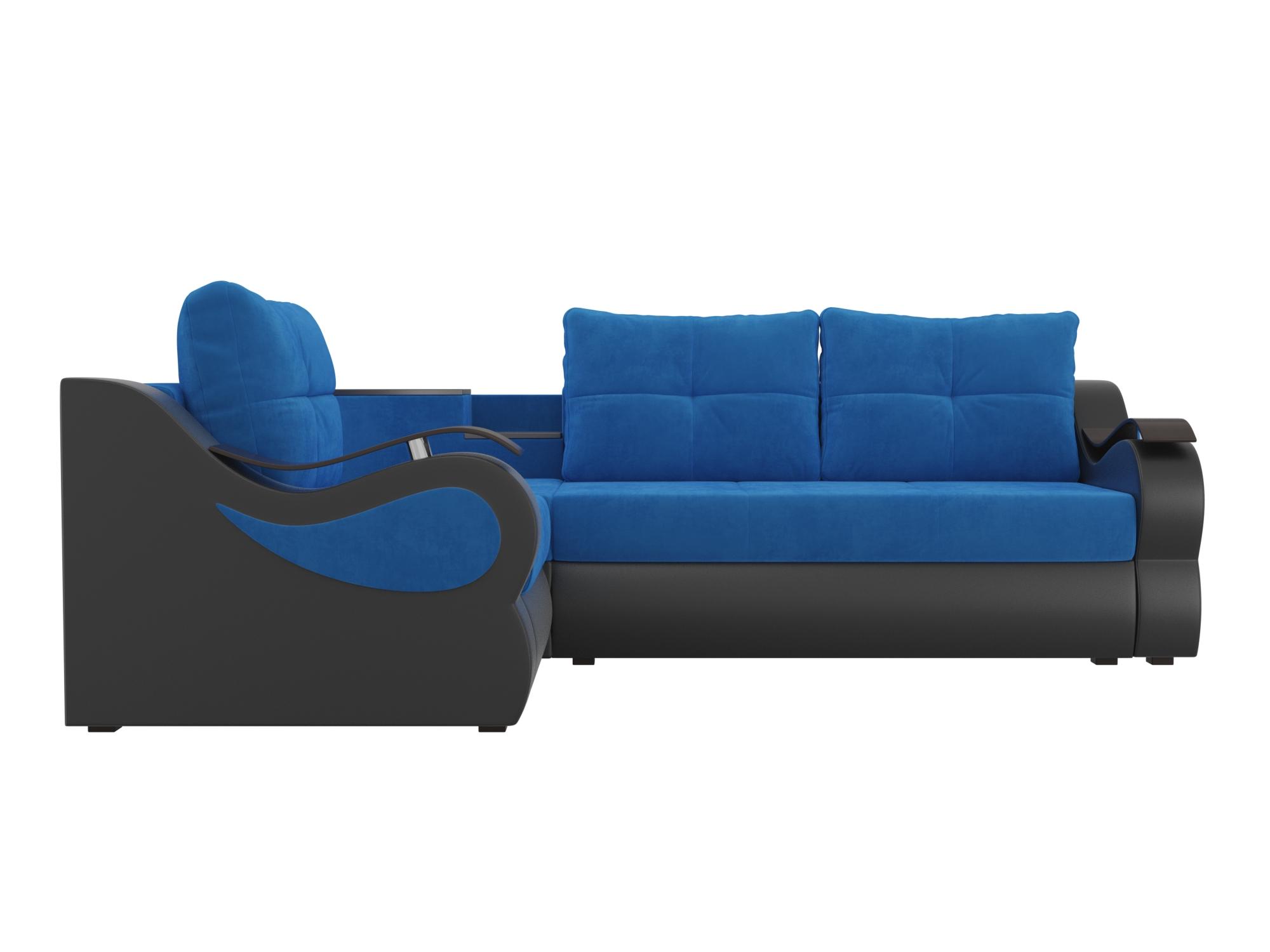 Угловой диван Митчелл Левый MebelVia Голубой, Черный, Велюр, ЛДСП Голубой, Черный