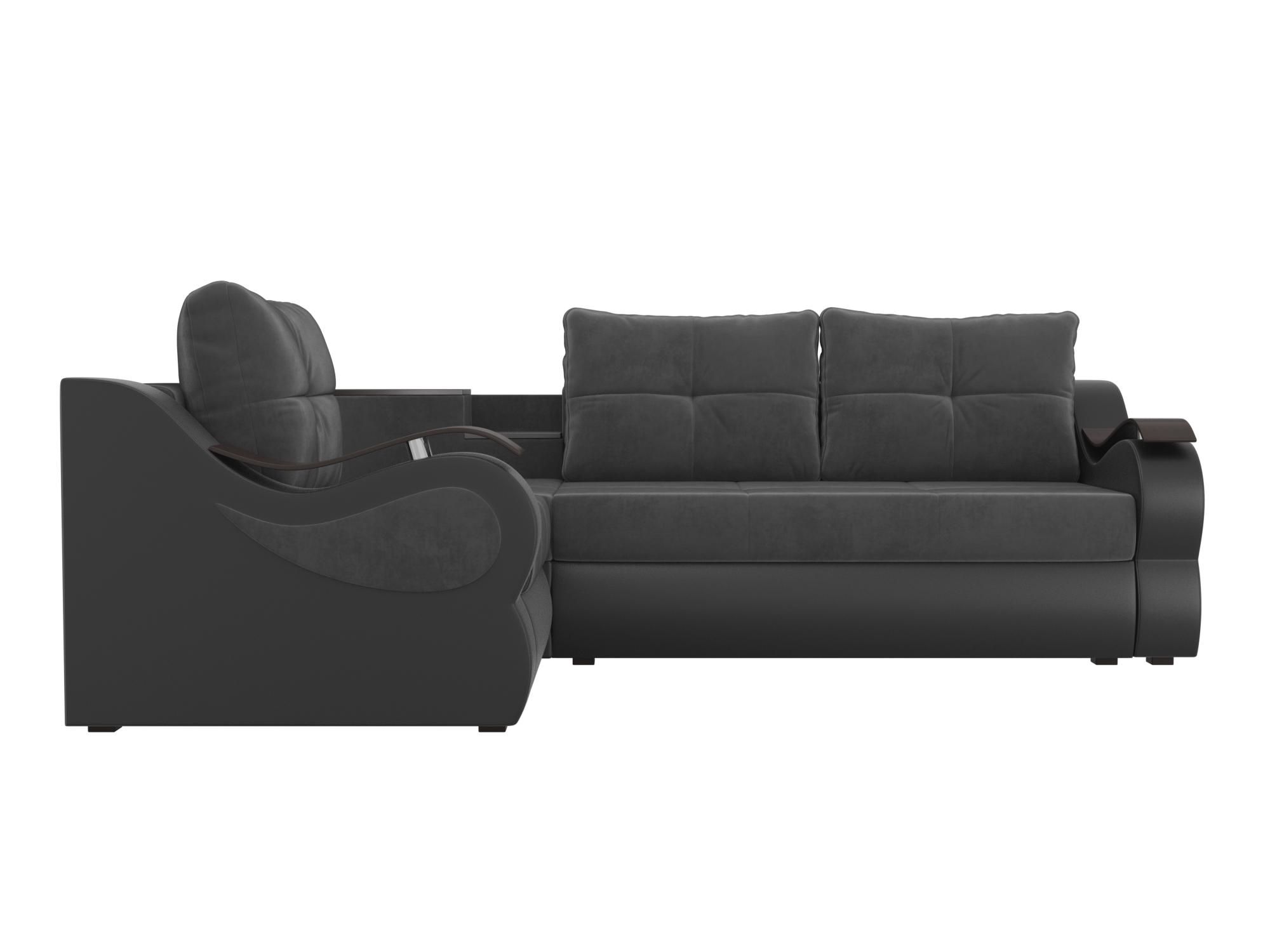 Угловой диван Митчелл Левый MebelVia Серый, Черный, Велюр, ЛДСП Серый, Черный