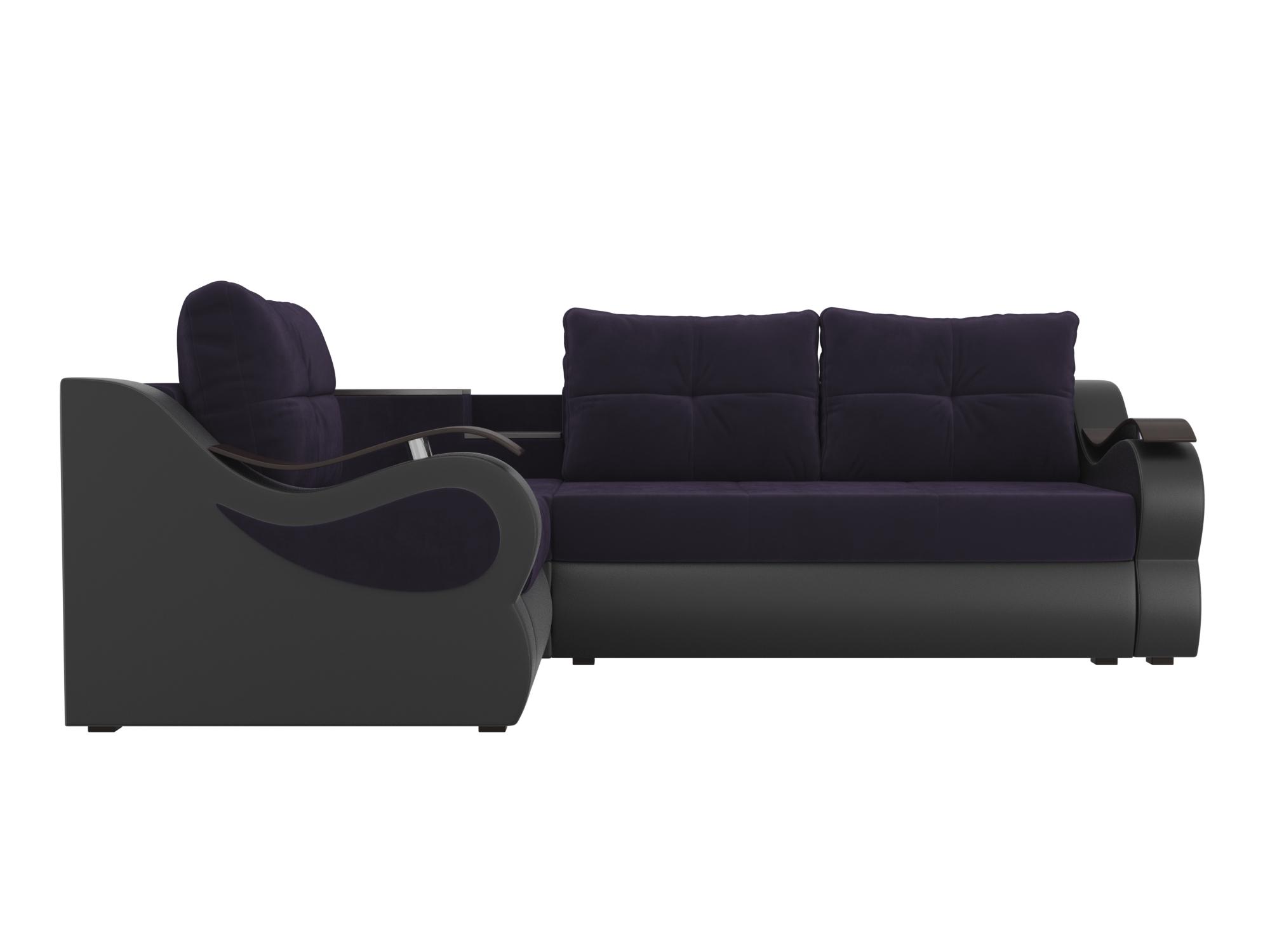 Угловой диван Митчелл Левый MebelVia Фиолетовый, Черный, Велюр, ЛДСП Фиолетовый, Черный