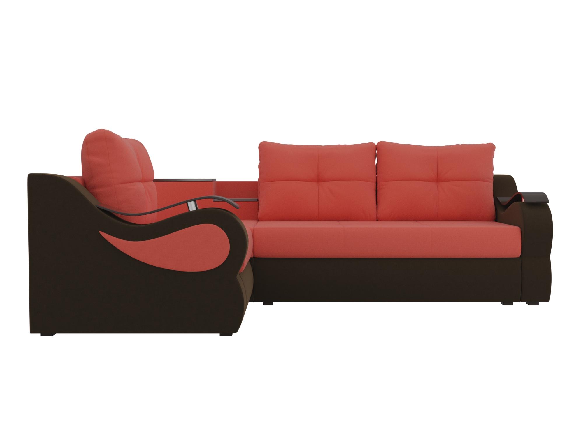 Угловой диван Митчелл Левый MebelVia Красный, Коричневый Коричневый, Красный