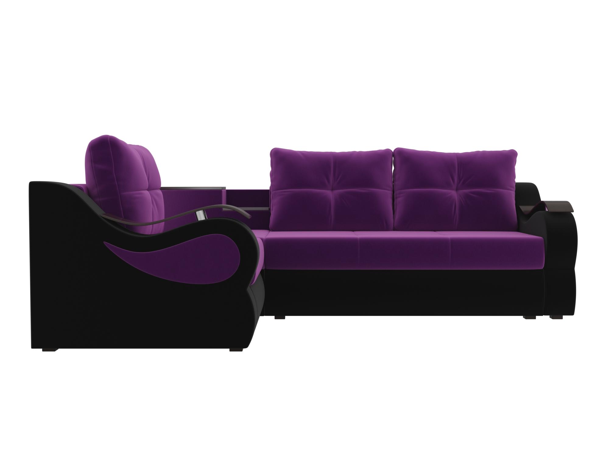 Угловой диван Митчелл Левый MebelVia Фиолетовый, Черный Фиолетовый, Черный