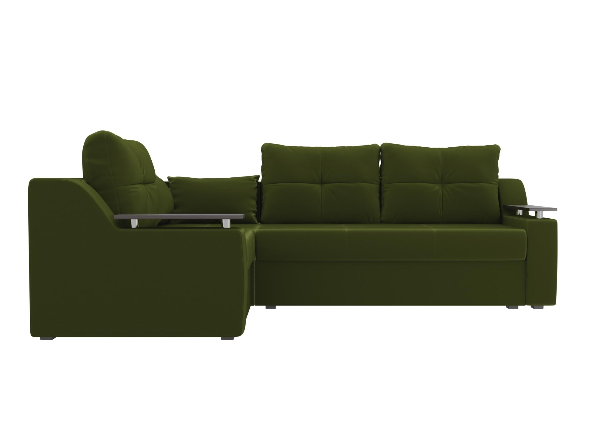 Угловой диван Митчелл Левый MebelVia Зеленый, Микровельвет, ЛДСП Зеленый