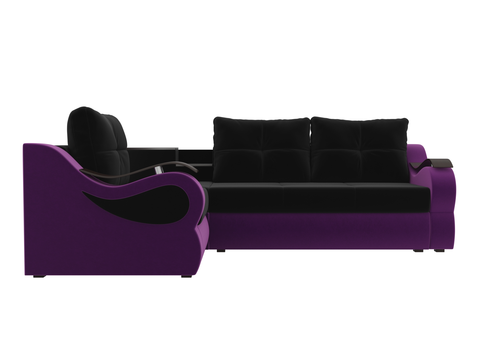 Угловой диван Митчелл Левый MebelVia Черный, Фиолетовый Фиолетовый, Черный