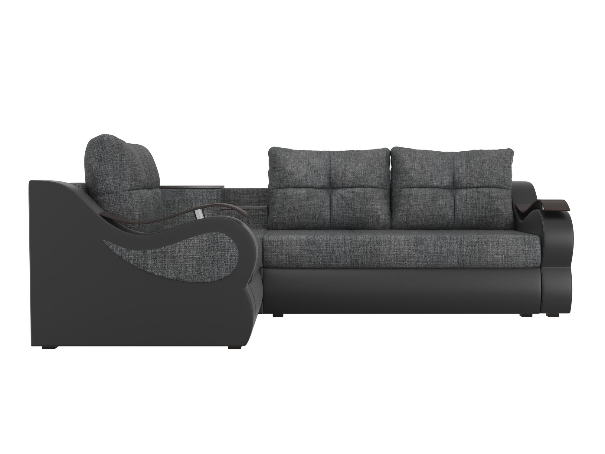 Угловой диван Митчелл Левый MebelVia Серый, Черный, Рогожка, ЛДСП Серый, Черный